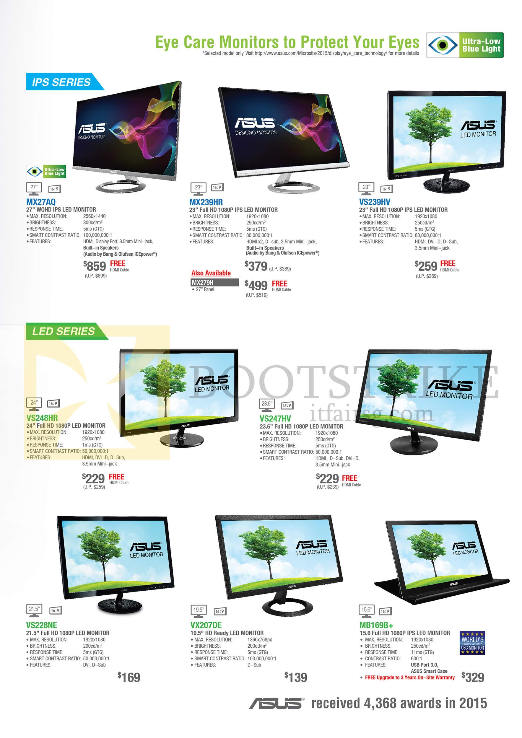 COMEX 2016 price list image brochure of ASUS Monitors IPS LED MX27AQ, MX239HR, VS239HV, VS247HV, VS248HR, VS228NE, VX207DE, MB169B+