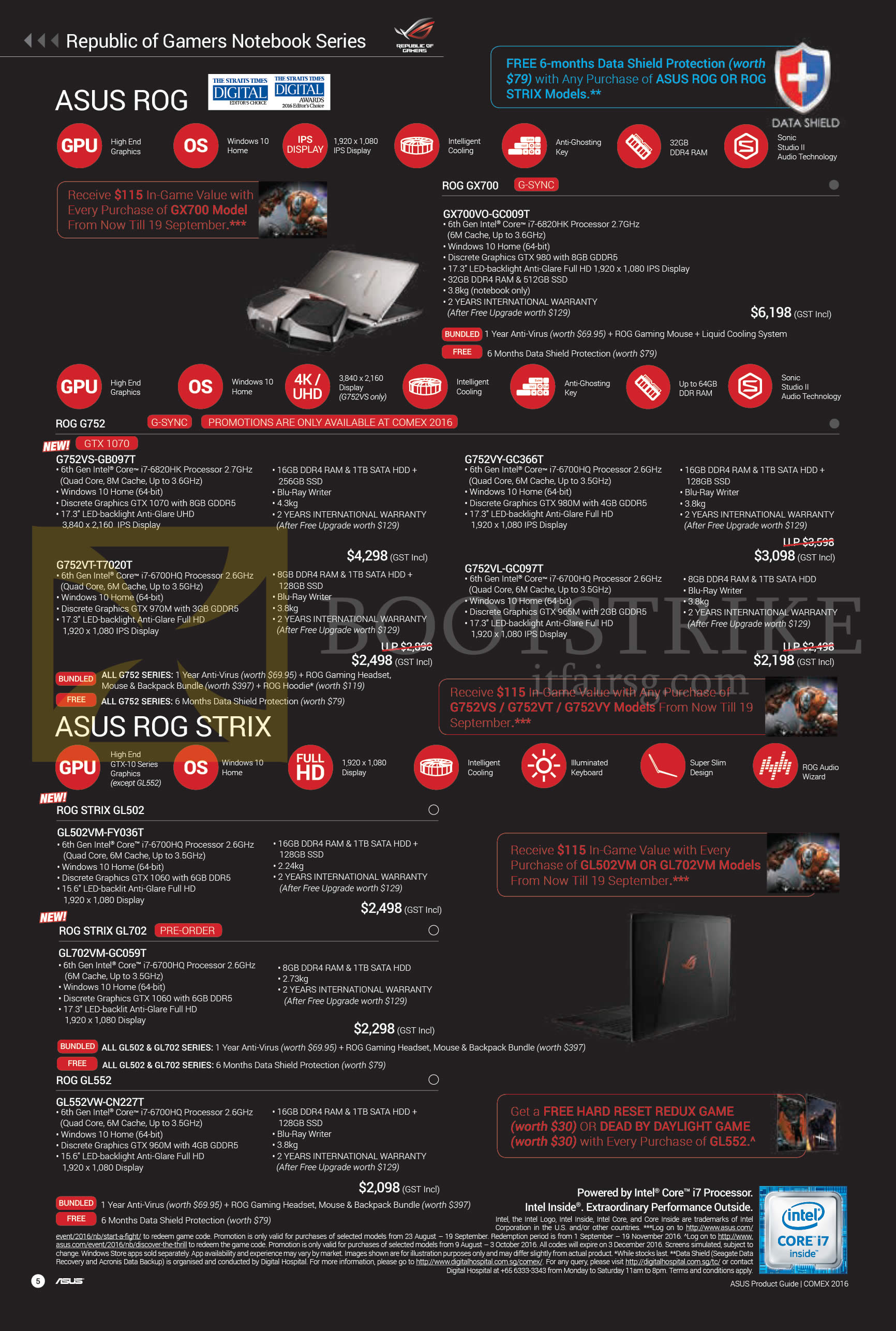 COMEX 2016 price list image brochure of ASUS Notebooks ROG GX700, G752, ROG Strix GL502, GL552 Series