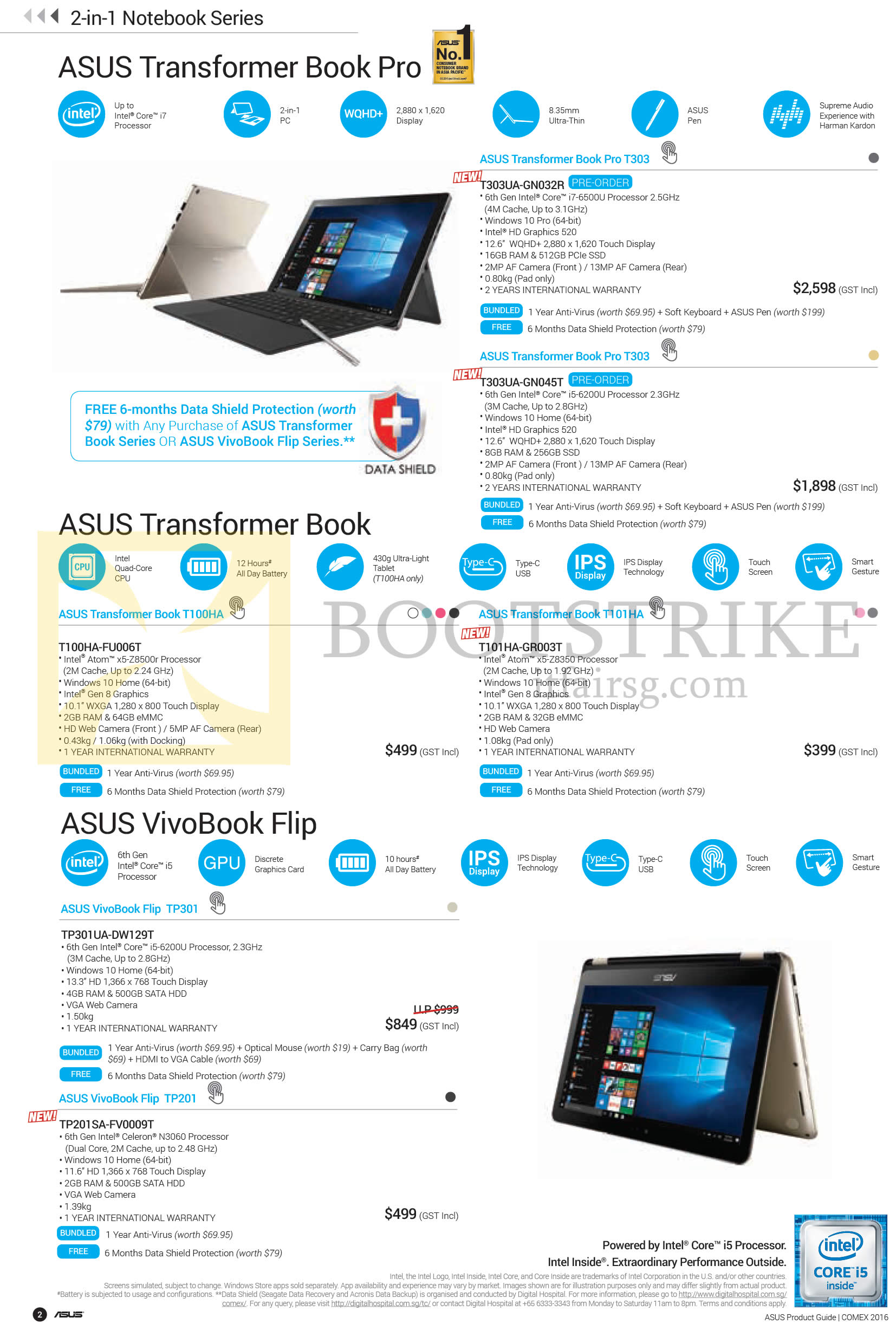 COMEX 2016 price list image brochure of ASUS Notebooks Transformer Book Pro T303, T100HA, T101HA, VivoBook Flip TP301, TP201 Series