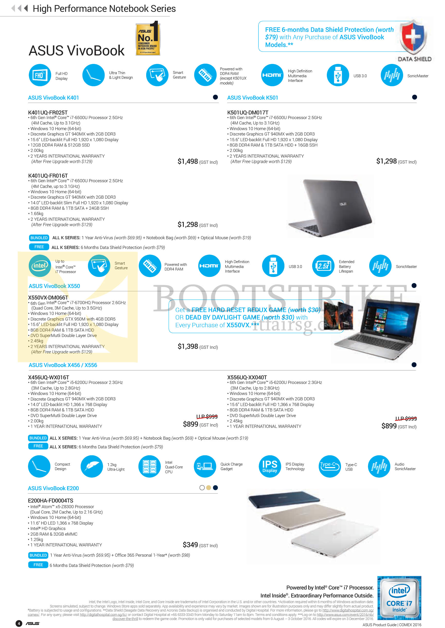 COMEX 2016 price list image brochure of ASUS Notebooks VivoBook K401, K501, X550, X456, X556, E200 Series