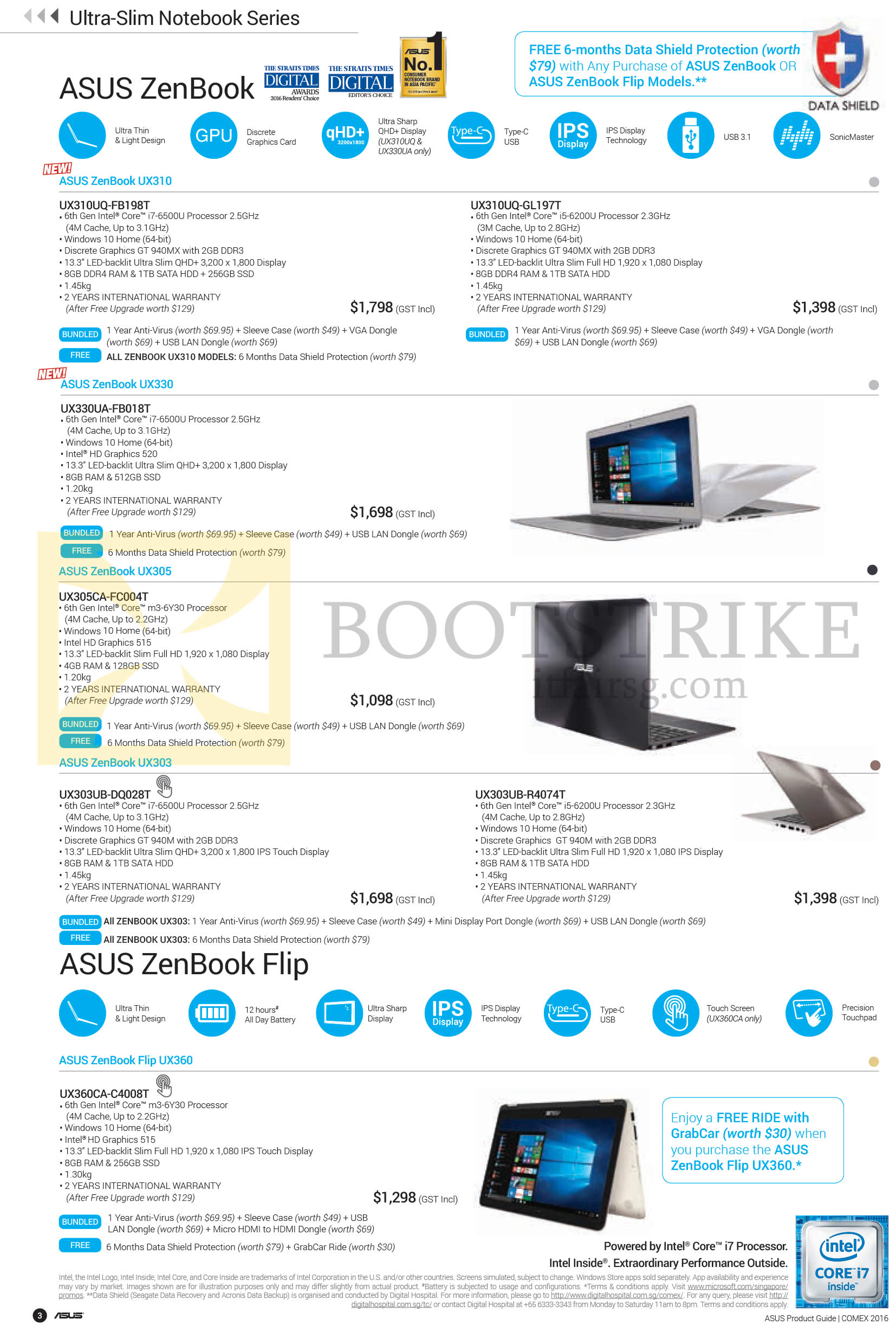 COMEX 2016 price list image brochure of ASUS Notebooks Zenbook UX310, UX330, UX305, UX303, Flip UX360 Series