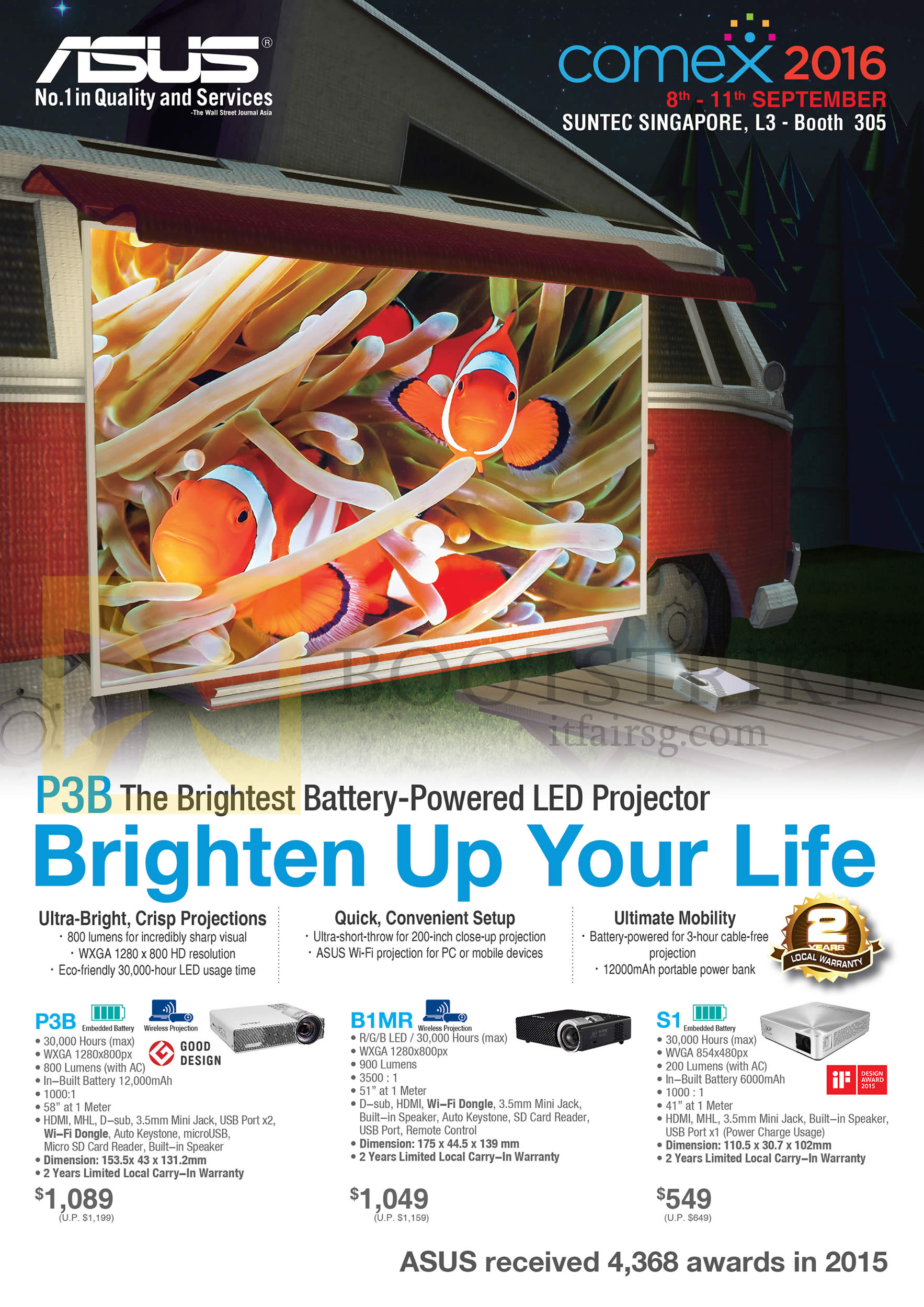 COMEX 2016 price list image brochure of ASUS Projector LED, P3B, B1MR, S1