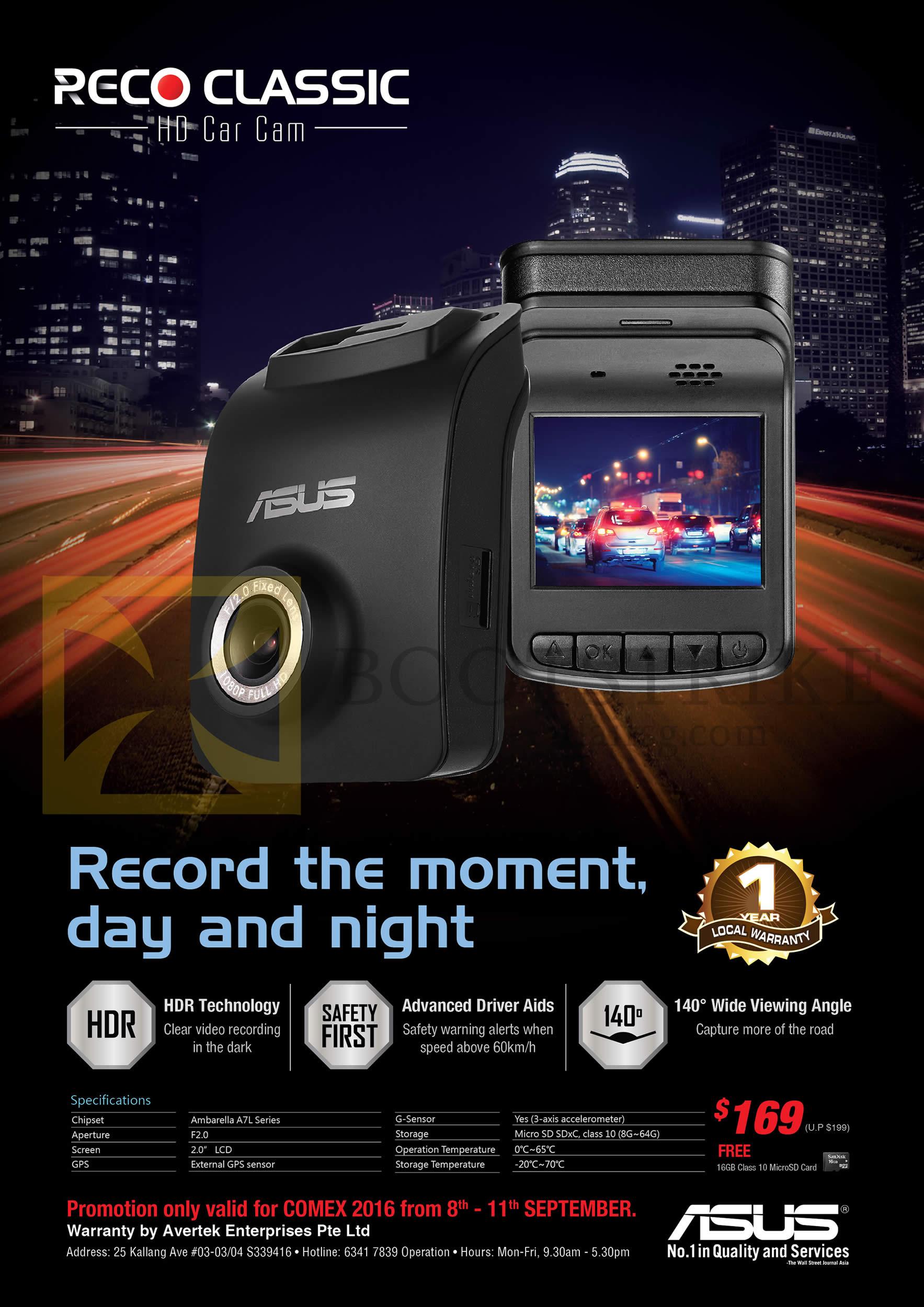 COMEX 2016 price list image brochure of ASUS Reco CAM Classic HD Car Cam