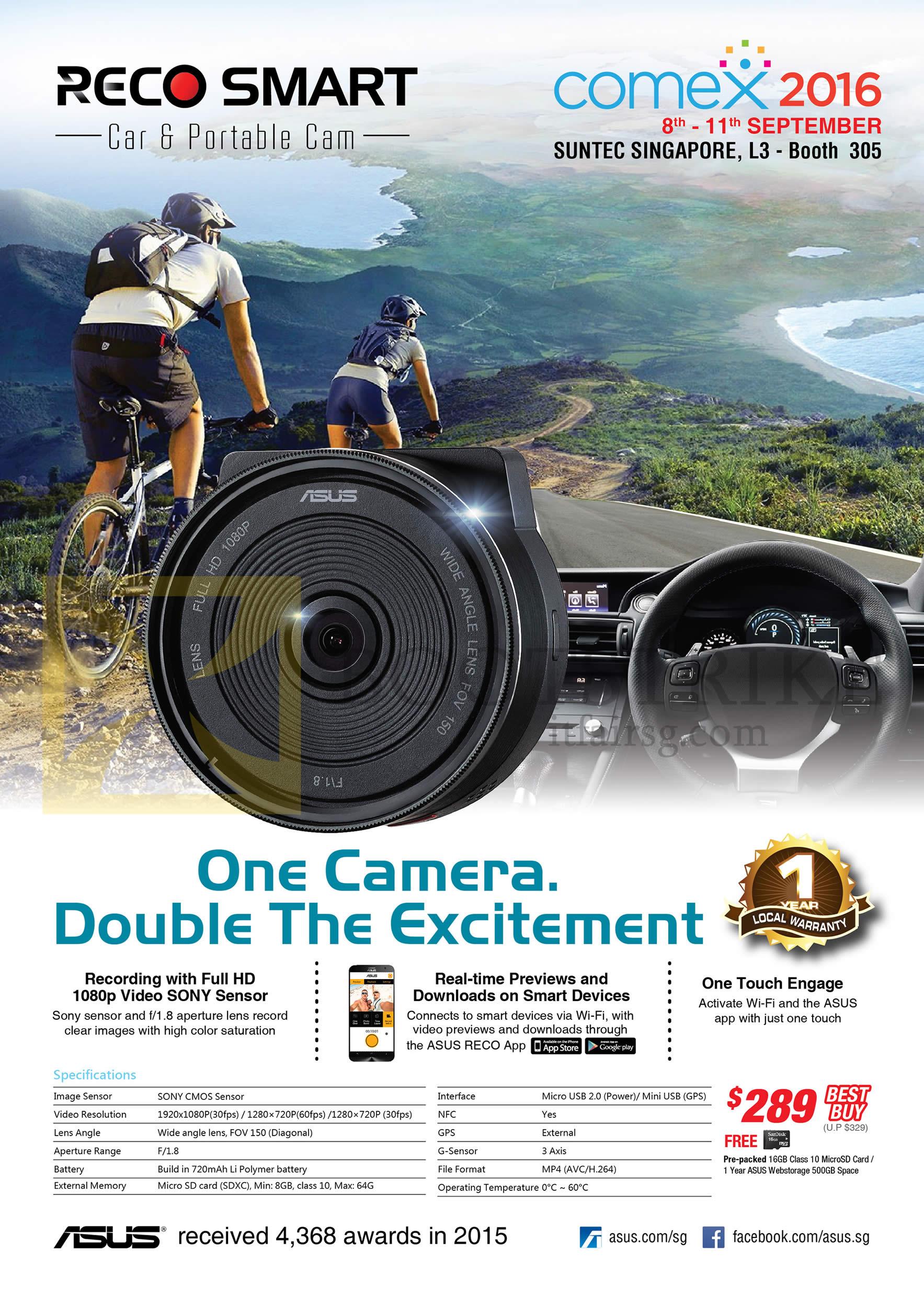 COMEX 2016 price list image brochure of ASUS Reco Smart Car Portable Camera