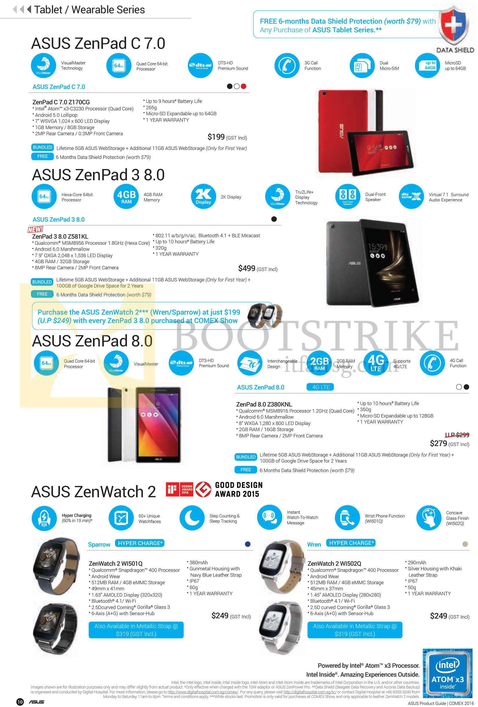 COMEX 2016 price list image brochure of ASUS Tablets, Wearable Series, Zenpad C 7.0, 3 8.0, 8.0, Zenwatch 2