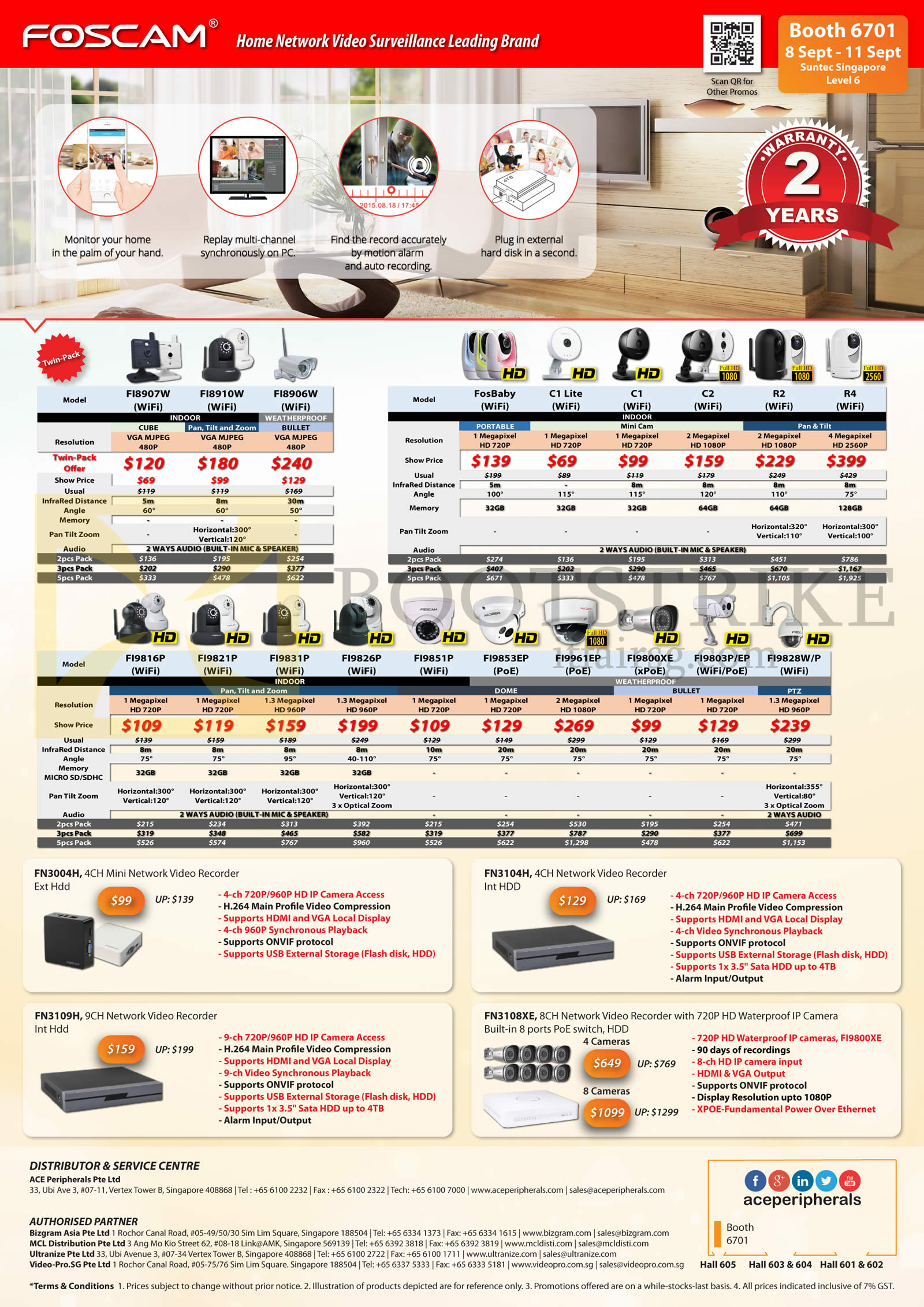 COMEX 2016 price list image brochure of Ace Peripherals Cameras, Network Video Recorders, Dlink, Foscam Stand Alone Network, FN3004H, FN3104H, FN3108XE, FN3109H