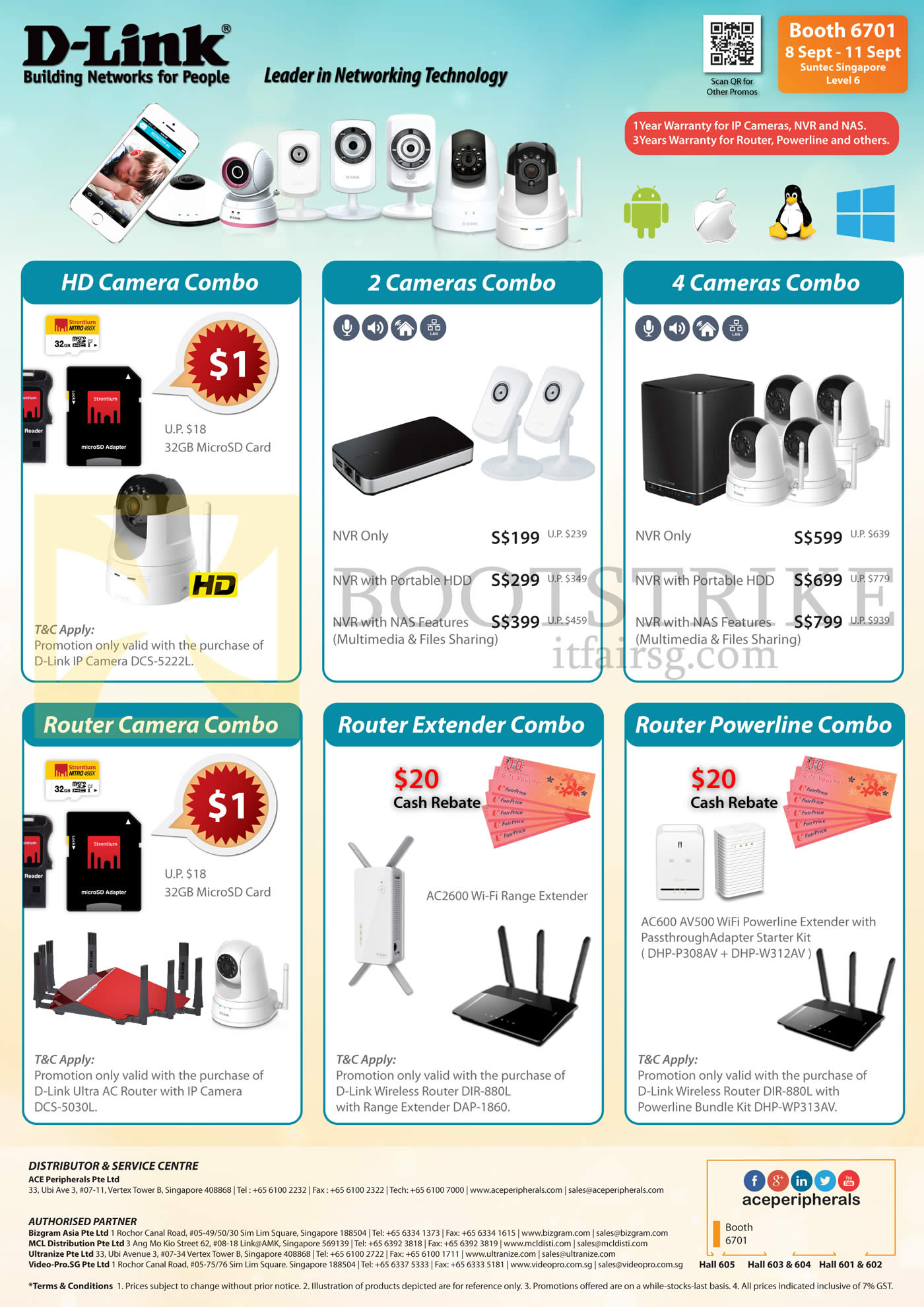 COMEX 2016 price list image brochure of Ace Peripherals D-Link Camera Combos HD Camera, 2 Cameras, Router, Router Extender, Router Powerline Combos