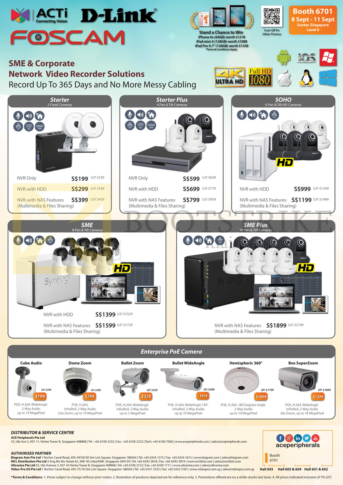 COMEX 2016 price list image brochure of Ace Peripherals D-link Foscam Starter, Plus, SOHO, SMR, SME Plus, Enterprise PoE Camera