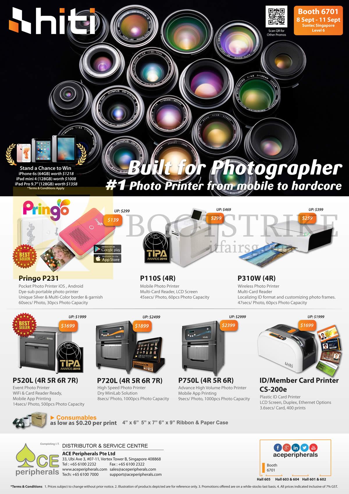 COMEX 2016 price list image brochure of Ace Peripherals Hiti Photo Printers Pringo Pocket P110S, P231, P310W, CS 200e, P520L. P720L. P750L