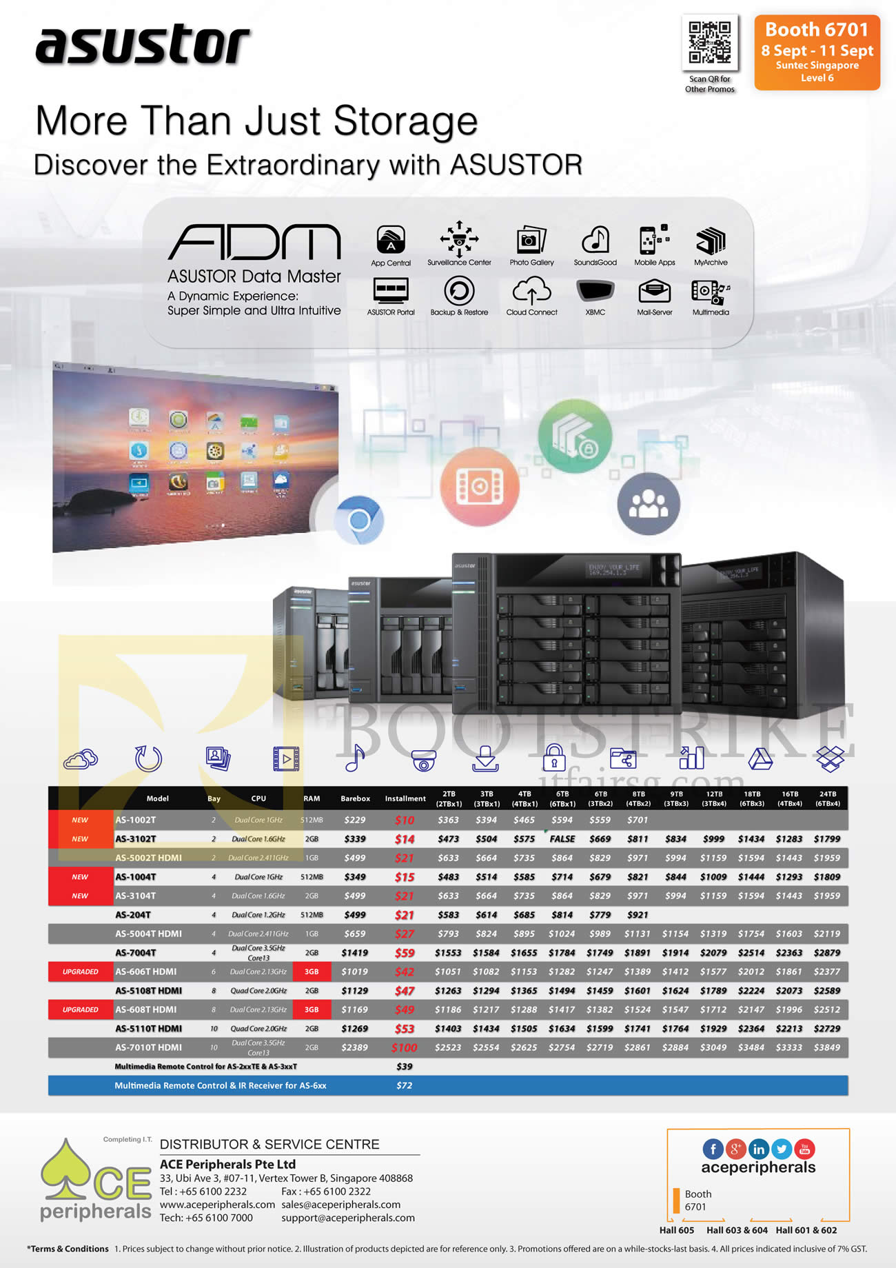 COMEX 2016 price list image brochure of Ace Peripherals NAS Asustor Data Master AS-1002T, 3102T, 5002, 1004T, 3104T, 204T, 5004T, 7004T, 606T, 5108T, 608T, 5110T, 7010T HDMI