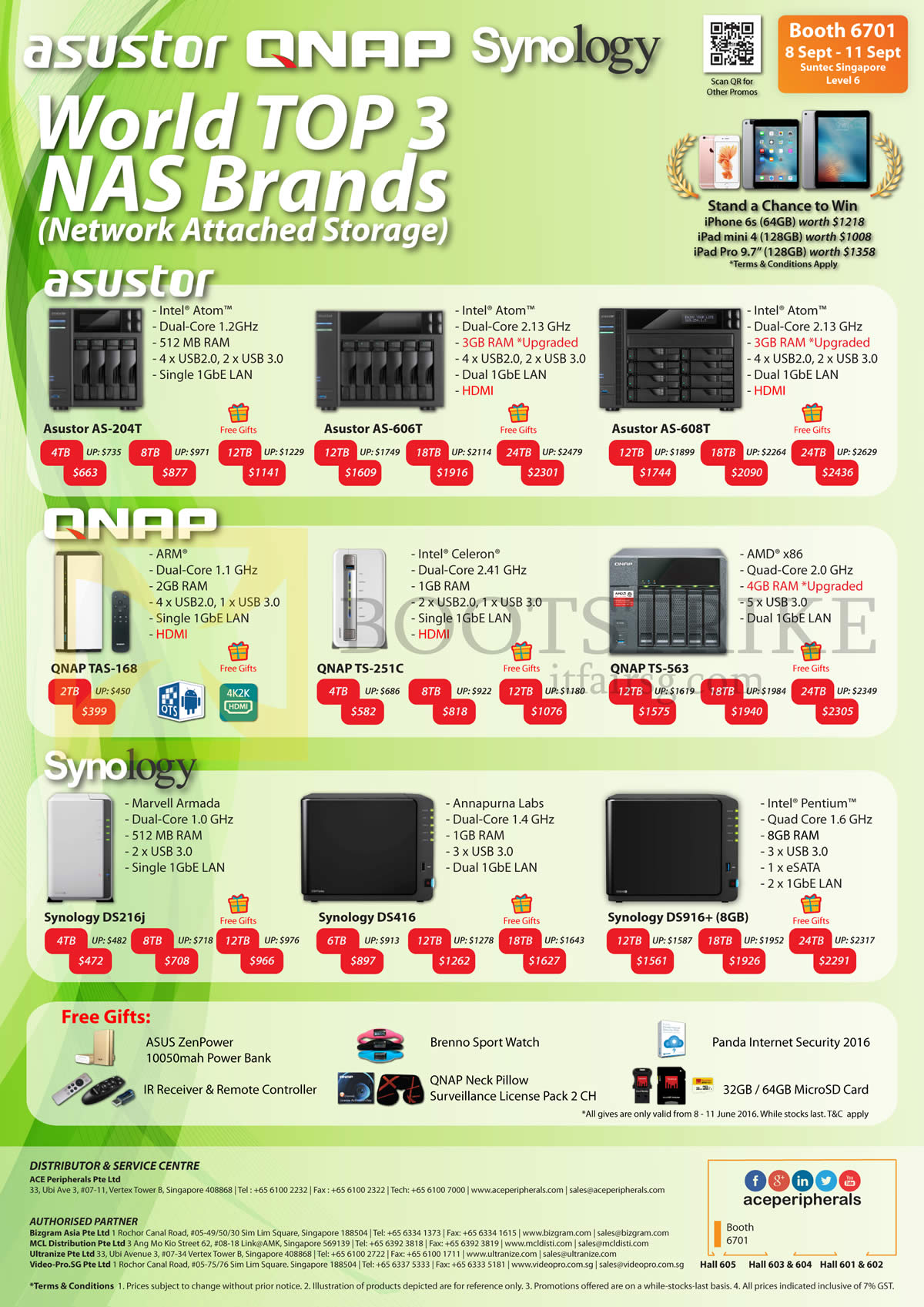COMEX 2016 price list image brochure of Ace Peripherals NAS Asustor, QNAP, Synology, AS-204T, 606T, 608T, QNAP TAS-168, TS-251C, TS-563, Synology DS216j, DS416, DS916Plus