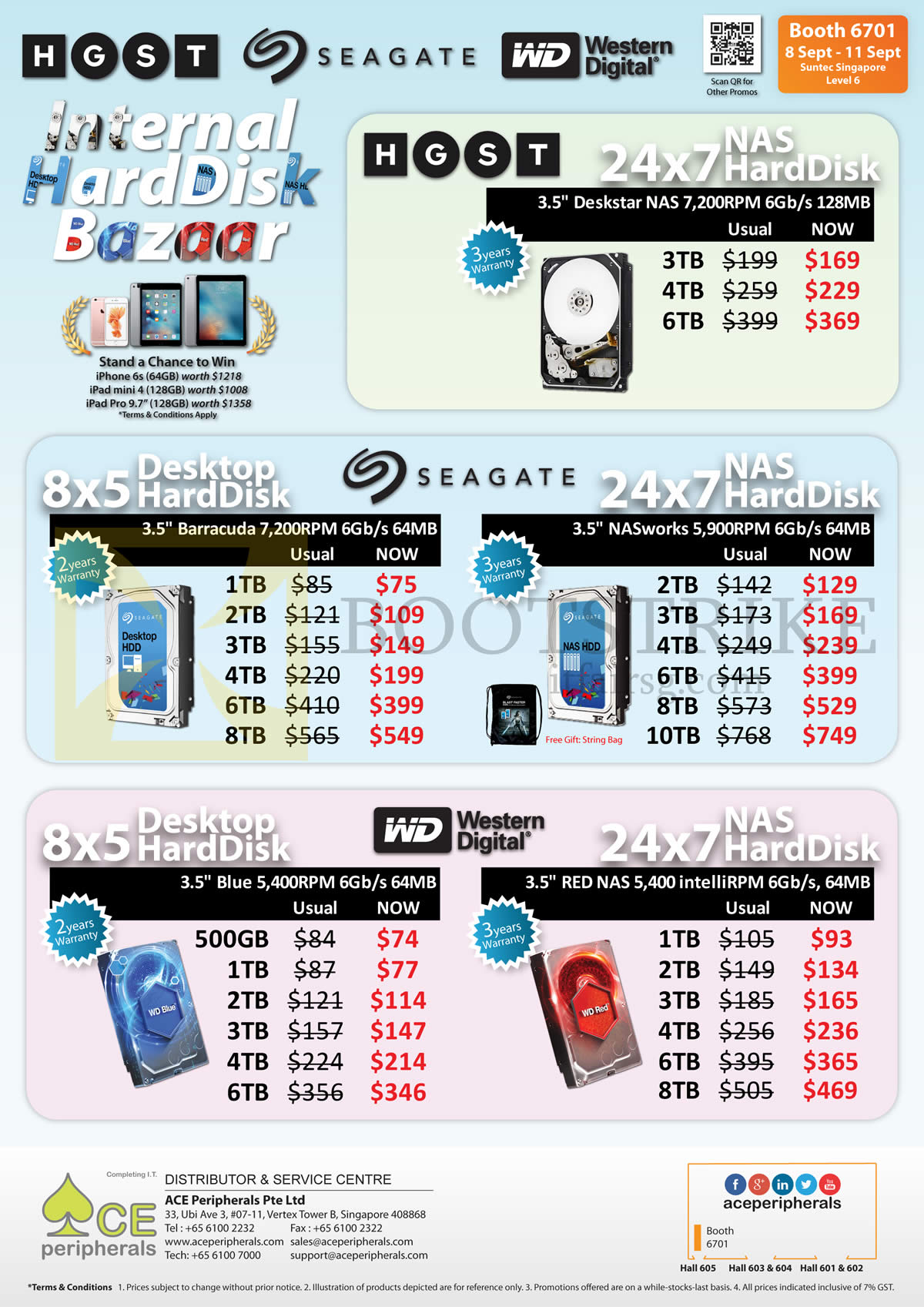 COMEX 2016 price list image brochure of Ace Peripherals NAS Internal Harddisk Seagate, HGST, Barracuda, WD Blue, Red, HGST Deskstar, 500GB, 1TB, 2TB, 3TB, 4TB, 6TB, 8TB
