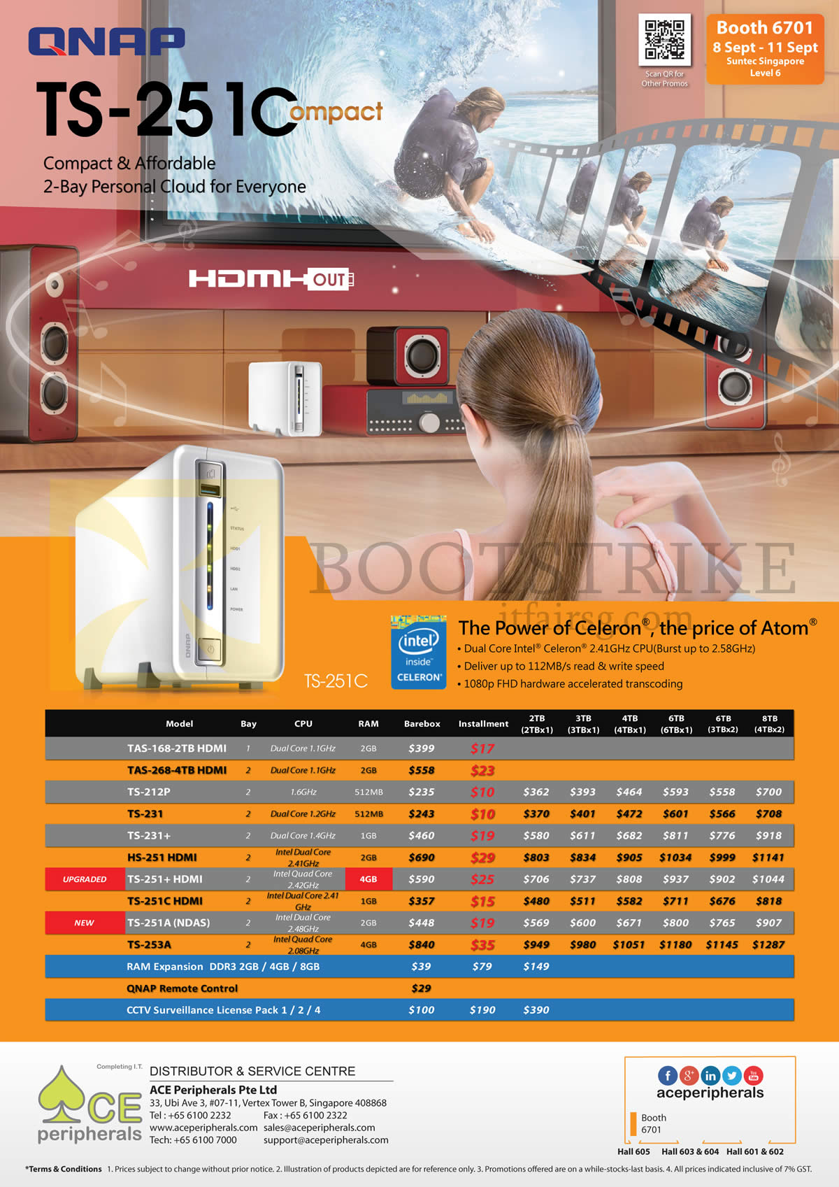 COMEX 2016 price list image brochure of Ace Peripherals NAS Personal Cloud Storage TAS-168, 268, 212P, 231, 231 Plus, HS-251, TS-251Plus, 251C, 251A, 253A, RAM Expansion, QNAP Remote Control, CCTV