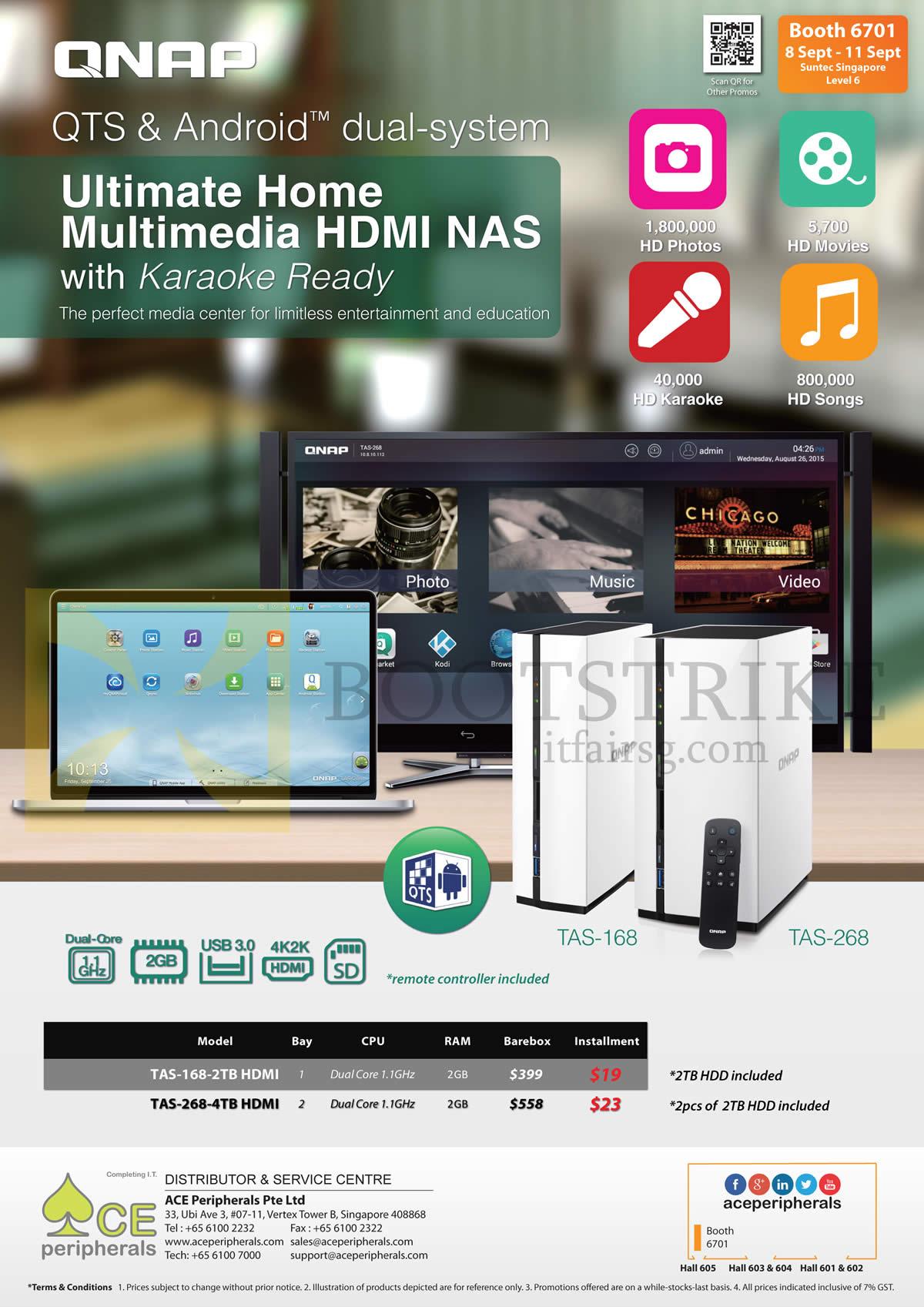 COMEX 2016 price list image brochure of Ace Peripherals NAS QNAP Android TAS-168, TAS-268