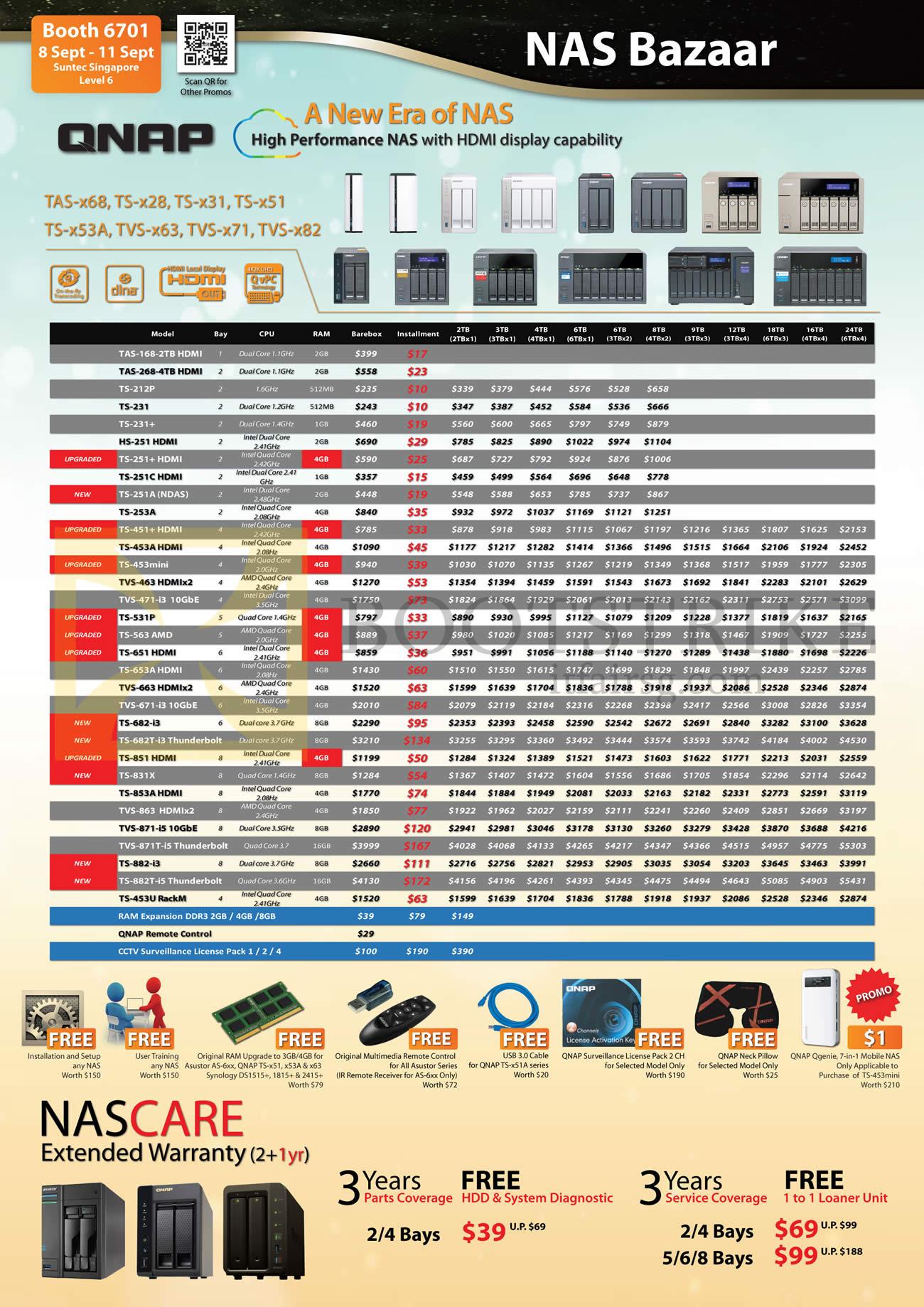 COMEX 2016 price list image brochure of Ace Peripherals QNAP NAS Bazaar TAS-168, 268, 212P, 231, 251, 251C, 251A, 253A, 453A, 453mini, 531P, 563, 651, 653A, TVS-463, 473, 663, 671