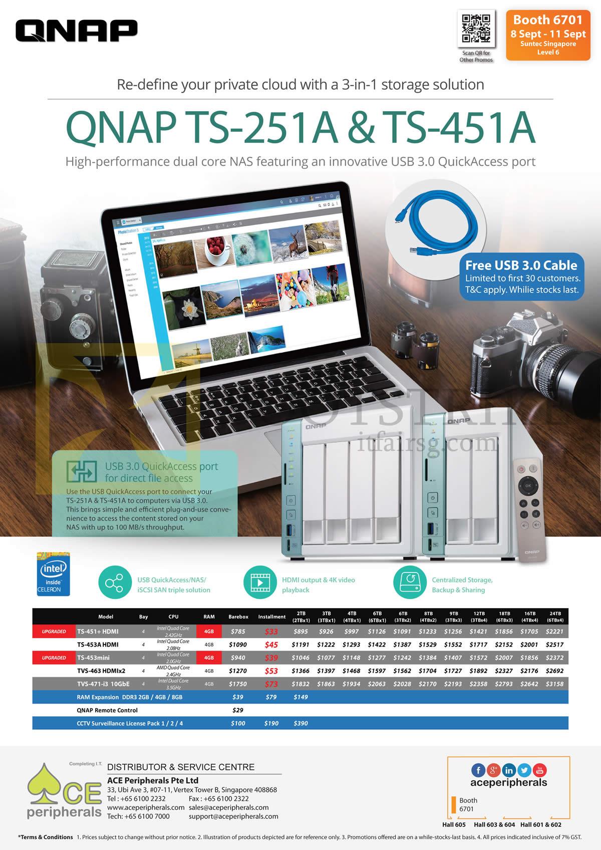 COMEX 2016 price list image brochure of Ace Peripherals QNAP Private Cloud TS-451 Plus, 453A, 453mini, TVS-463 HDMIx2, 471-i3, RAM Expression DDR3 2GB, 4GB, 8GB, QNAP NAS Remote Control, CCTV Surveillance