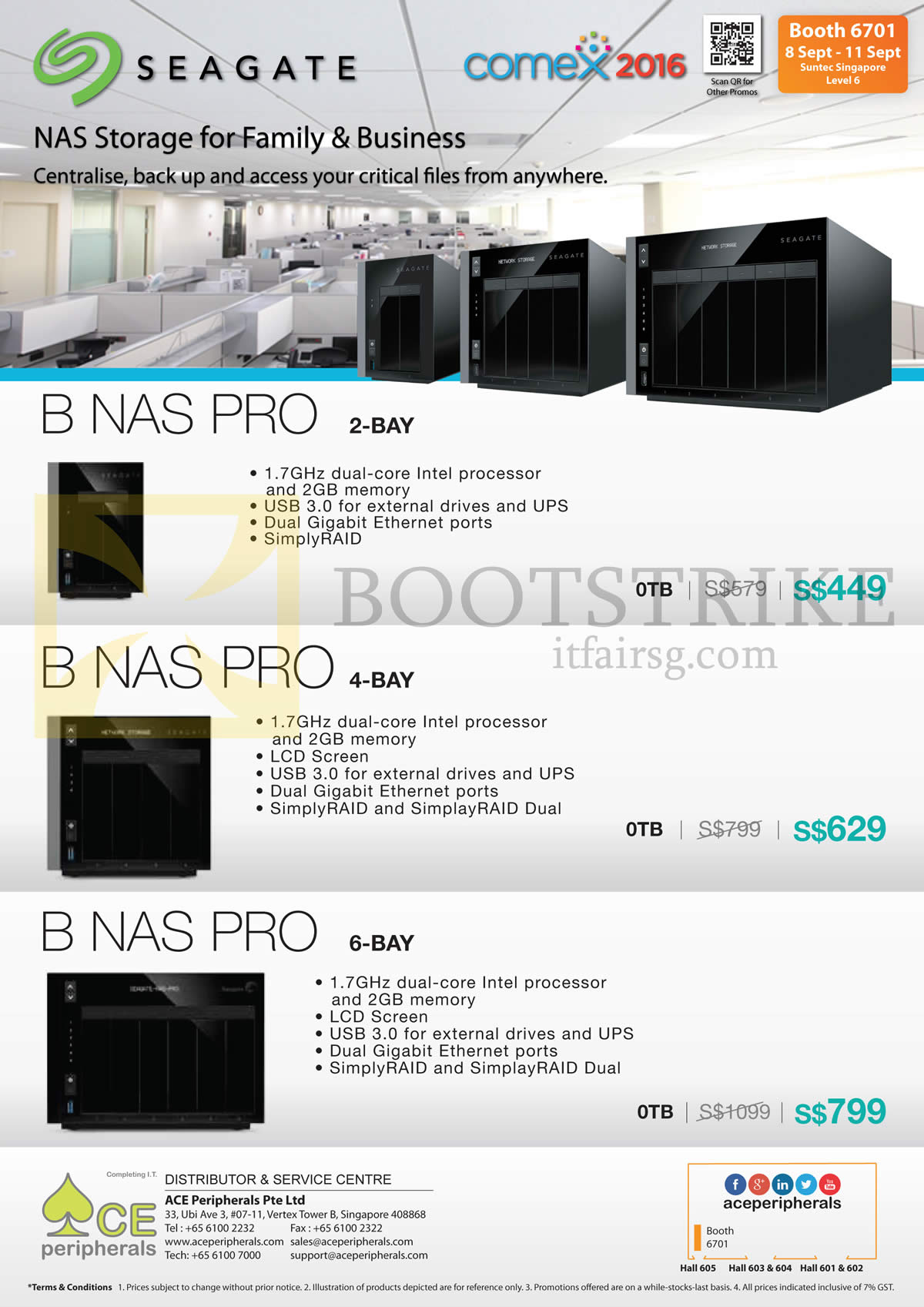 COMEX 2016 price list image brochure of Ace Peripherals Seagate Storage NAS Pro 2 Bay, 4 Bay, 6 Bay