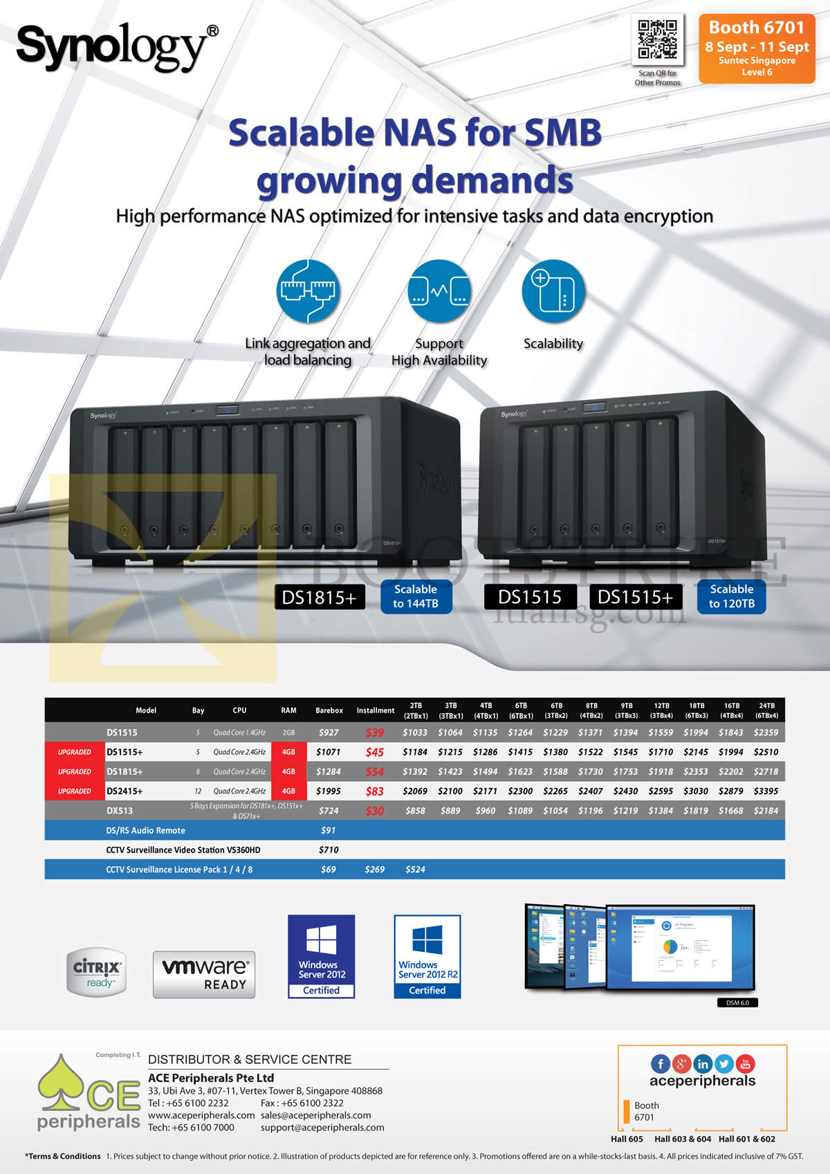 COMEX 2016 price list image brochure of Ace Peripherals Synology NAS DS1515, DS1515Plus, DS1815Plus, DS2415PPlus, DX513