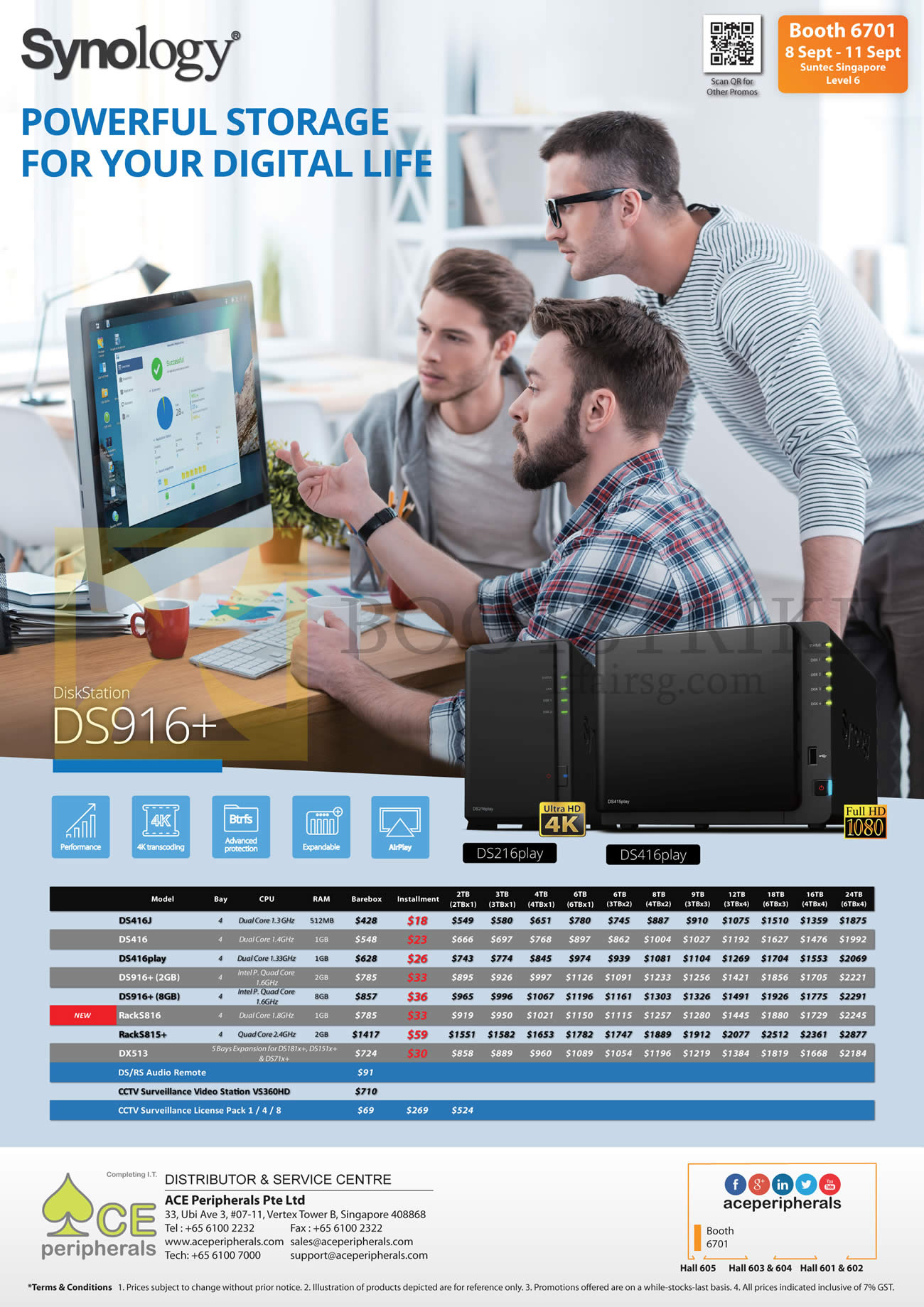 COMEX 2016 price list image brochure of Ace Peripherals Synology NAS DiskStation DS416J, 416, 416play, 916plus, RackS816, S815Plus, DX513