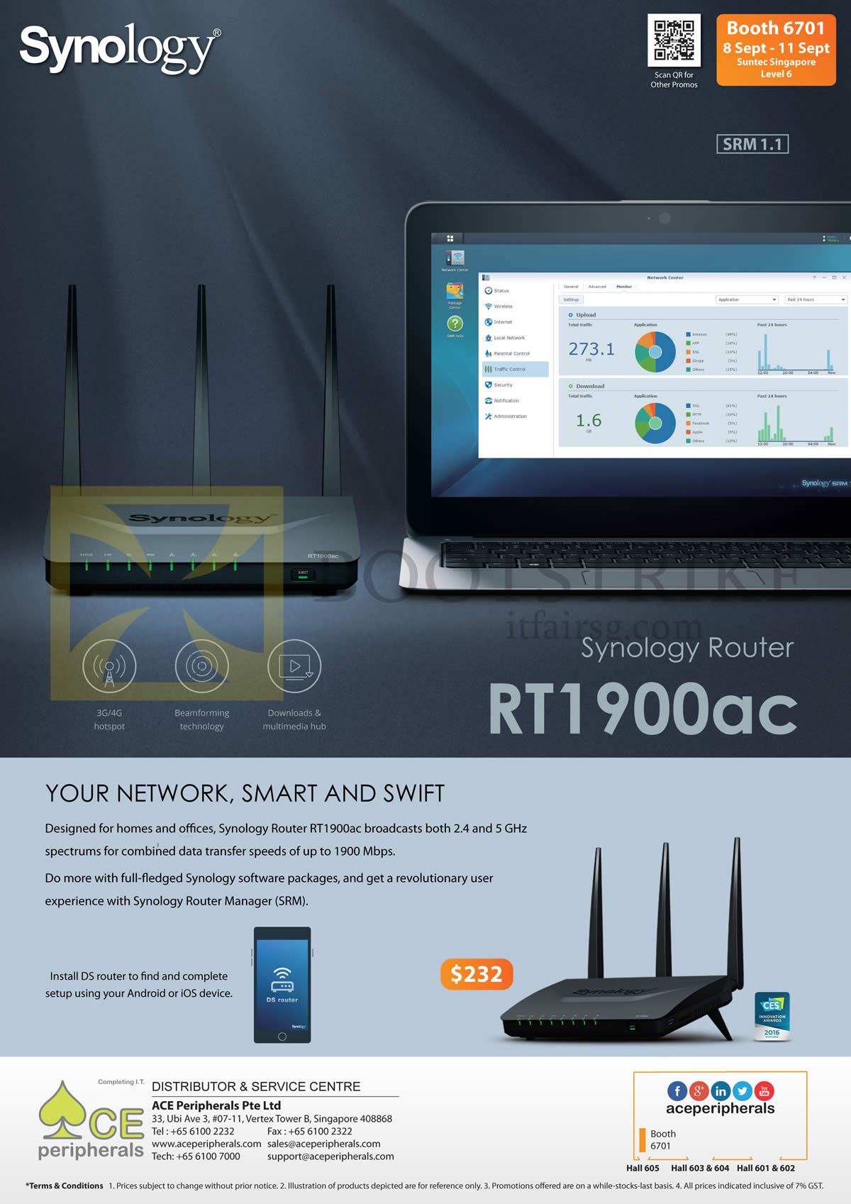 COMEX 2016 price list image brochure of Ace Peripherals Synology Router RT1900ac