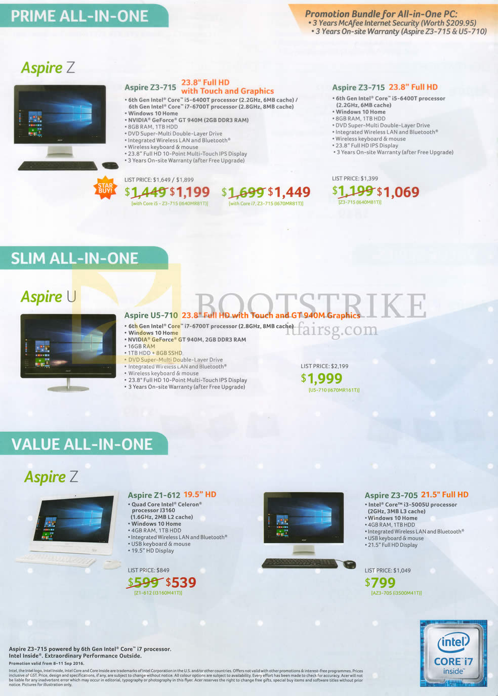 COMEX 2016 price list image brochure of Acer AIO Desktop PCs Aspire Z Prime Z3-715, Slim U5-710, Z1-612, Z3-705