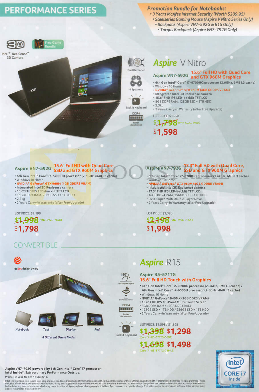 COMEX 2016 price list image brochure of Acer Aspire Notebooks V Nitro VN7-592G, VN7-792G, R5-571TG