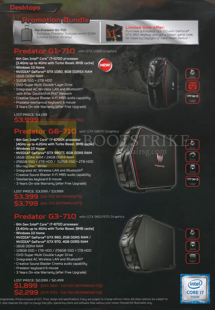 COMEX 2016 price list image brochure of Acer Desktop PCs Predator G1-710, G6-710, G3-710
