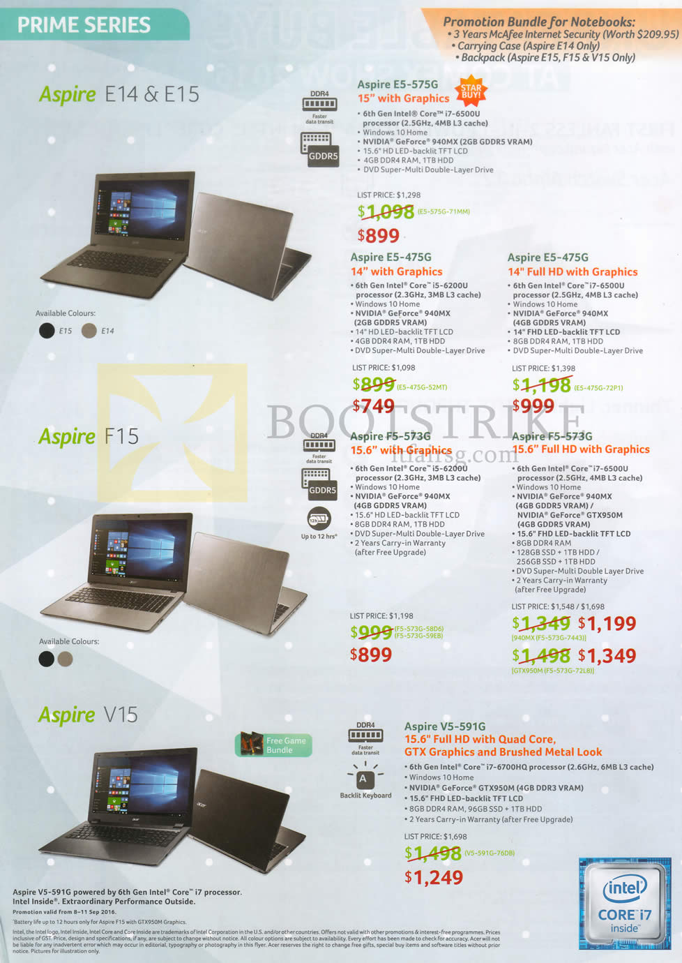 COMEX 2016 price list image brochure of Acer Notebooks Aspire E14 E15 E5-575G, E5-475G, F15 F5-573G, F5-373G, V15 V5-591G