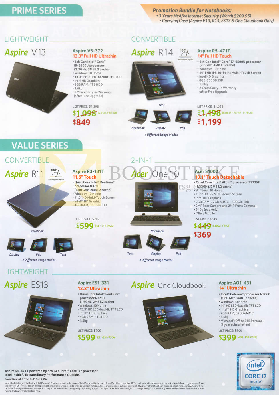 COMEX 2016 price list image brochure of Acer Notebooks Aspire V3-372, R5-471T, R3-131T, S1002, ES1-331, AO1-431, ES13, One Cloudbook