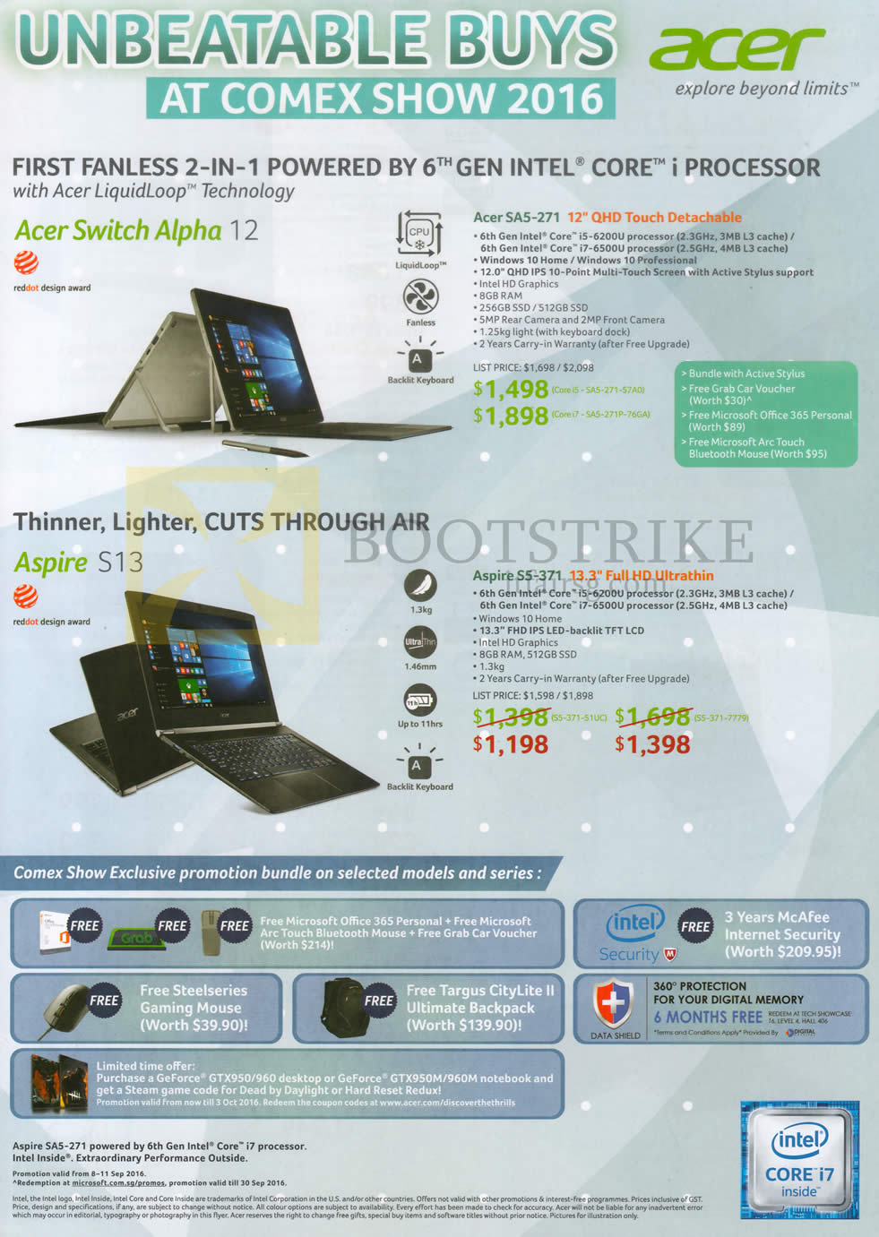 COMEX 2016 price list image brochure of Acer Notebooks Switch Alpha 12 SA5-271, Aspire S13 S5-371, Promotion Bundles