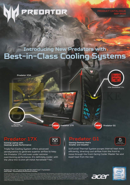 COMEX 2016 price list image brochure of Acer Predator Notebook, Desktop PC, Predator 17X, G1