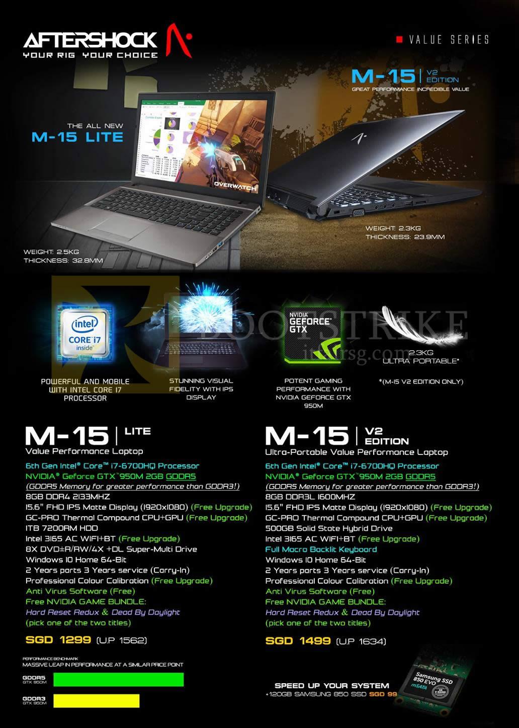 COMEX 2016 price list image brochure of Aftershock Notebooks M-15 Lite, M-15 V2 Edition