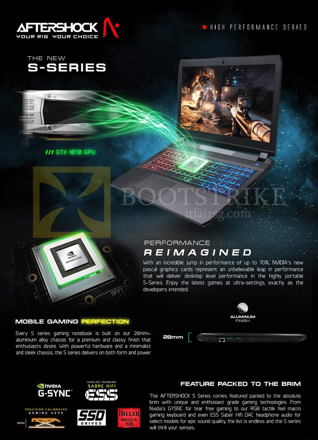 COMEX 2016 price list image brochure of Aftershock Notebooks S-Series Features