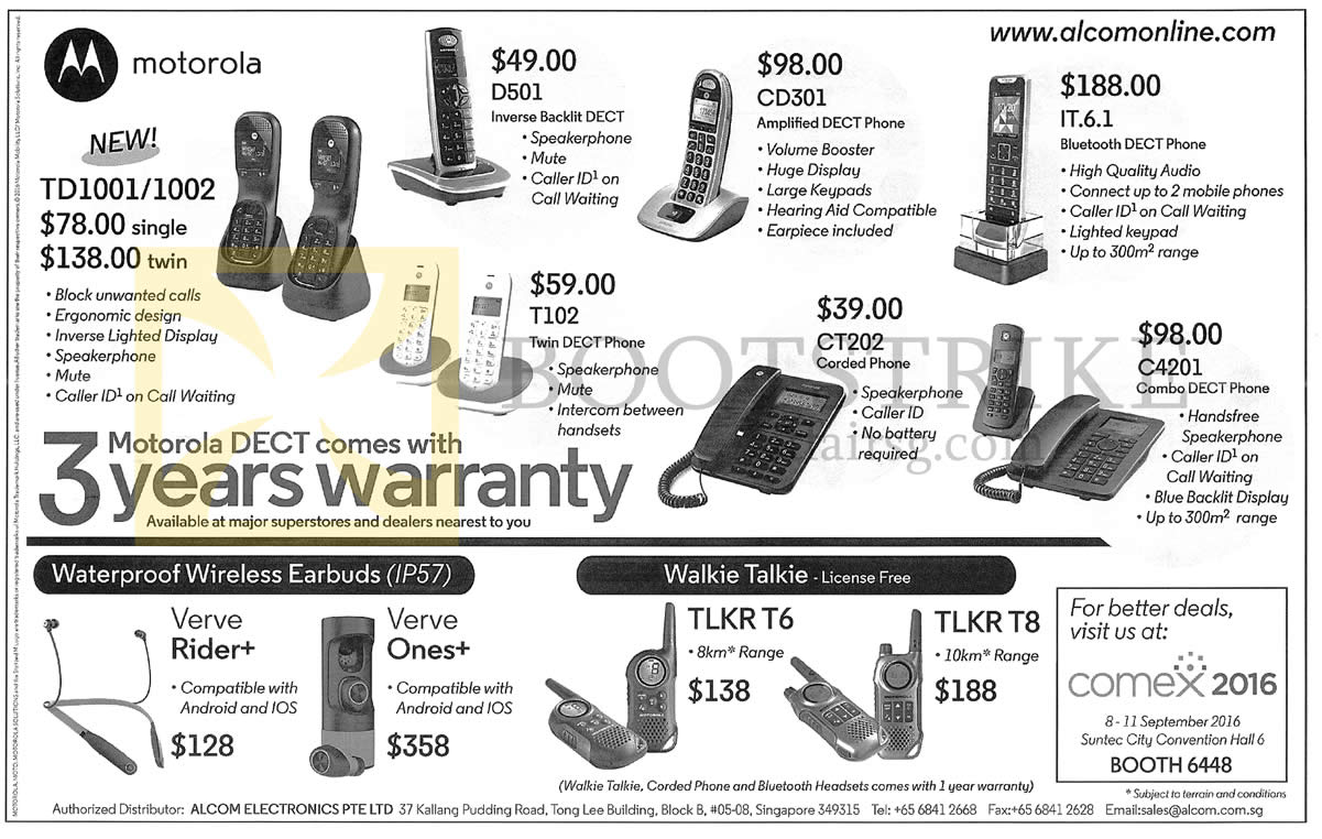 COMEX 2016 price list image brochure of Alcom Electronics Motorola Dect Phones, Wireless Earbuds, Walkie Talkie, TD1001, 1002, D501, CD301, IT.6.1, C4201, CT202, T102, TLKR T8, T6, Verve Ones Plus, Rider Plus