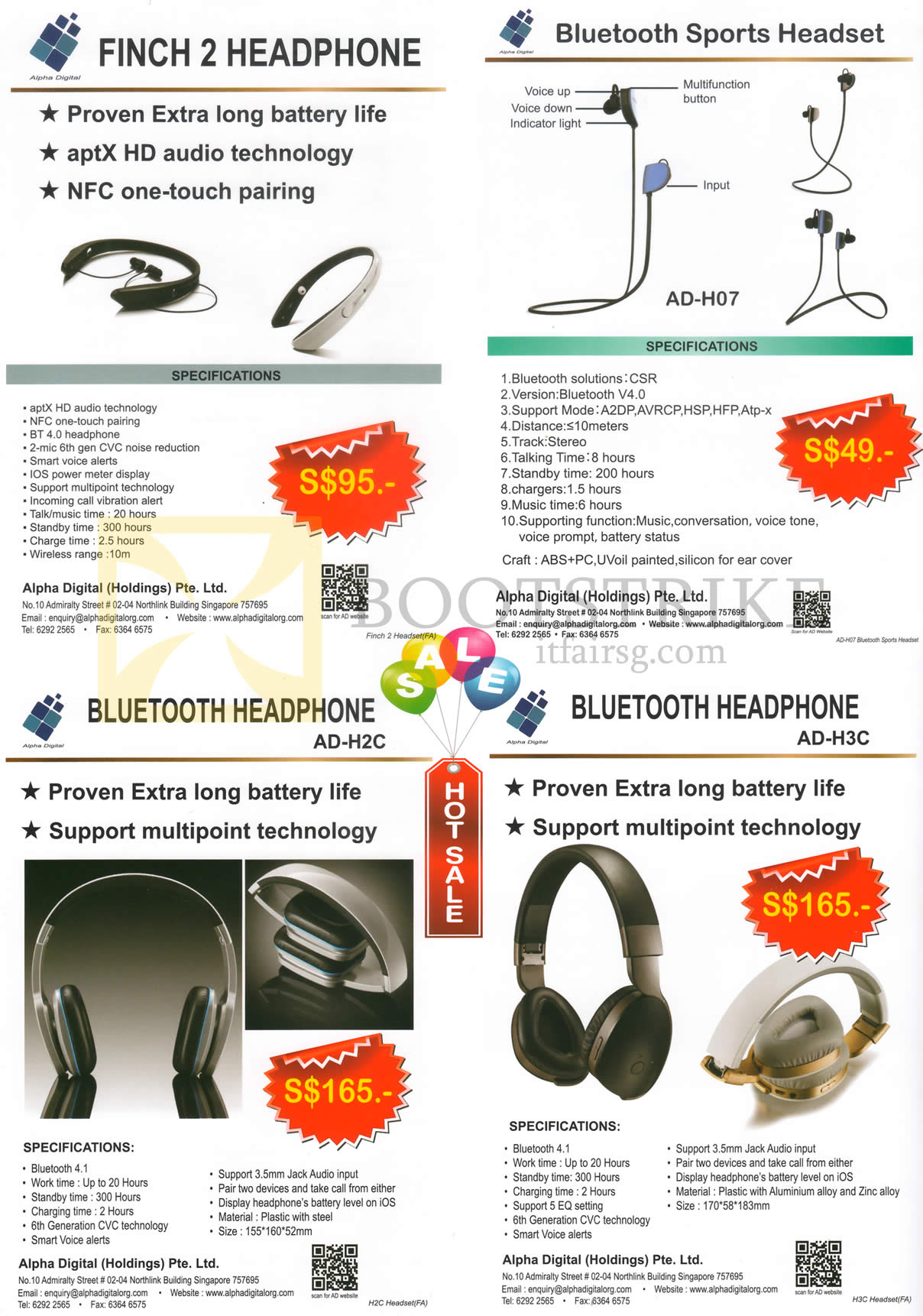 COMEX 2016 price list image brochure of Alpha Digital Headphones Finch 2, Bluetooth Sports Headset, AD-H2C, H3C