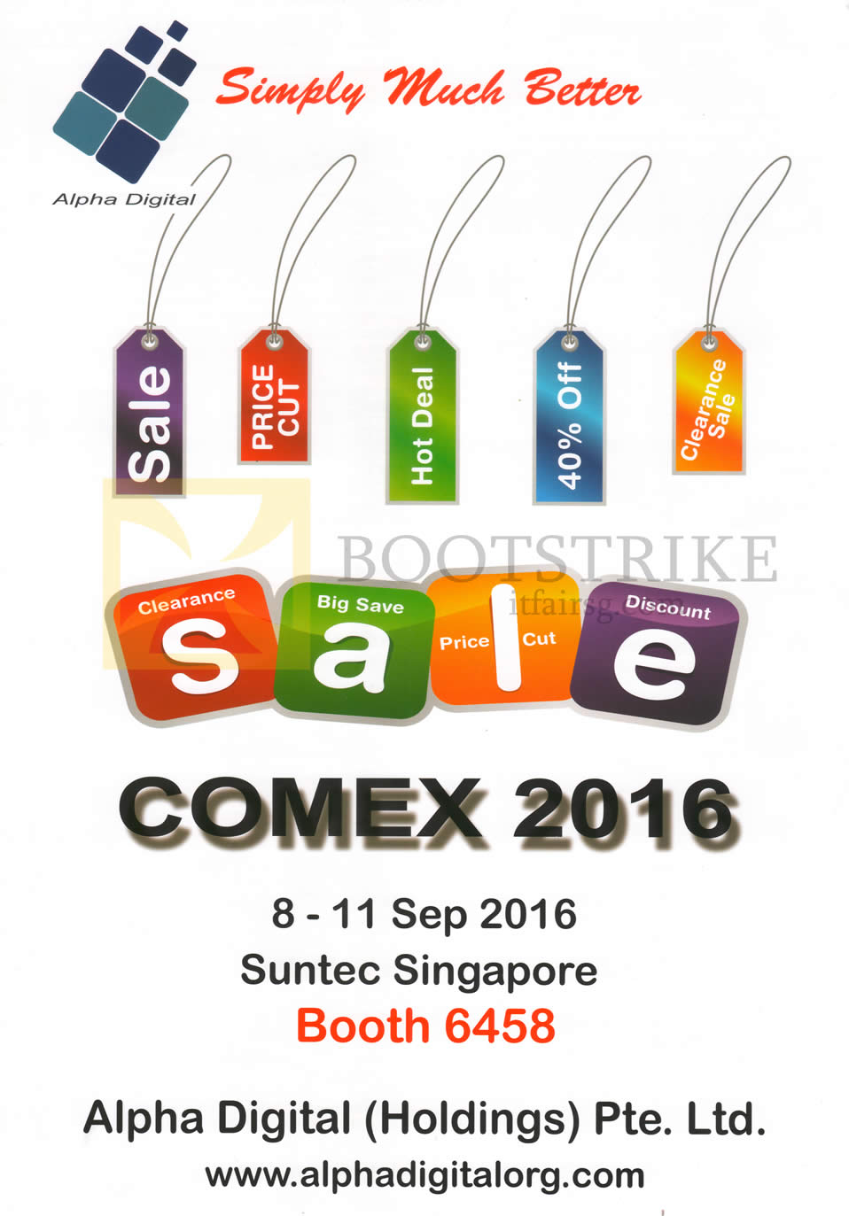 COMEX 2016 price list image brochure of Alpha Digital Holdings Comex Sale