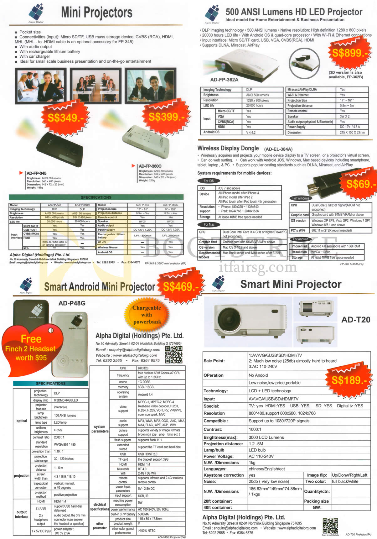 COMEX 2016 price list image brochure of Alpha Digital Mini Projectors, LED Projectors, Smart Android Mini Projector, AD-FP345, FP-360C, P48G, AD-T20