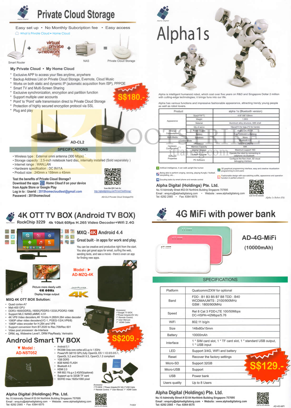 COMEX 2016 price list image brochure of Alpha Digital Private Cloud Storage, Alpha 1s Humanoid Robot, 4K OTT TV Box, 4G MiFi With Power Bank