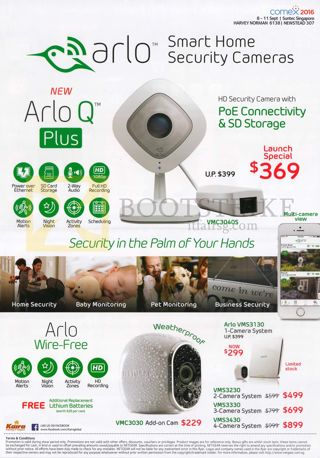 COMEX 2016 price list image brochure of Arlo Security Cameras Wire-Free, Arlo Q Plus, VMS3130, VMS3230, VMS3330, VMS3430