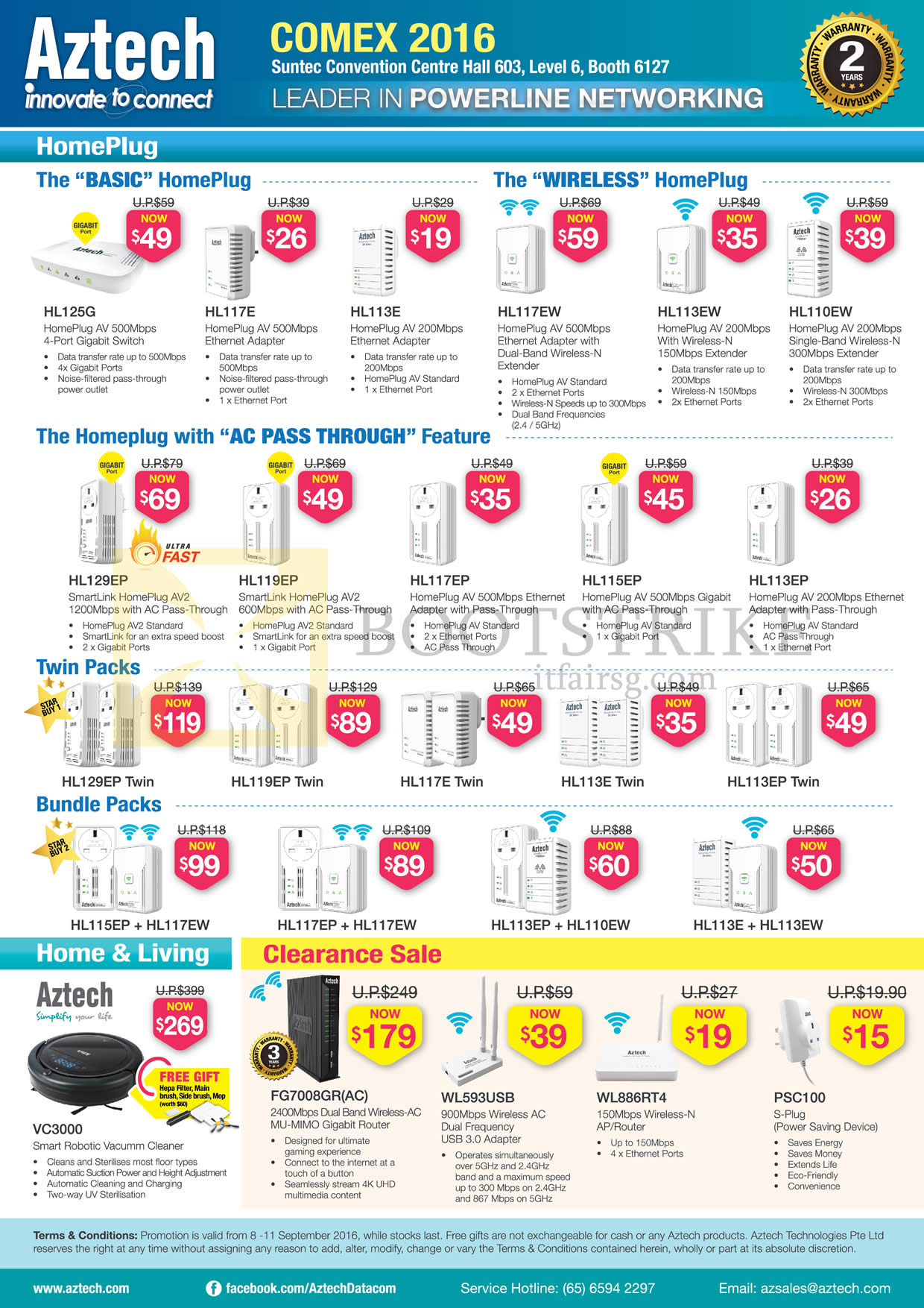 COMEX 2016 price list image brochure of Aztech Networking HomePlugs, Wireless, Twin Packs, Bundle Packs, VC3000 Robot Vacuum Cleaner, Router, USB Adapter