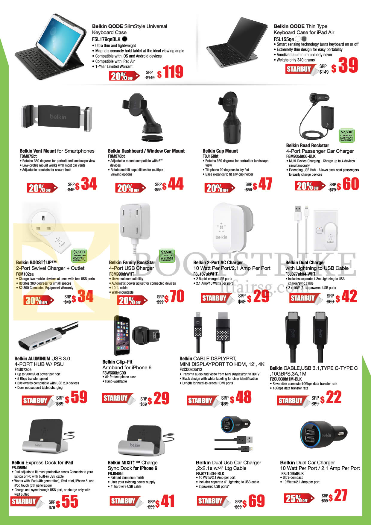 COMEX 2016 price list image brochure of Belkin Chargers, Cables, Car Mount, Cases, Qode Slimstyle Universal, Qode Thin Type Keyboard Case, Vent Mount, Cup Mount, Road Rockstar, Boost Up, Family Rockstar, 2 Port AC Charger