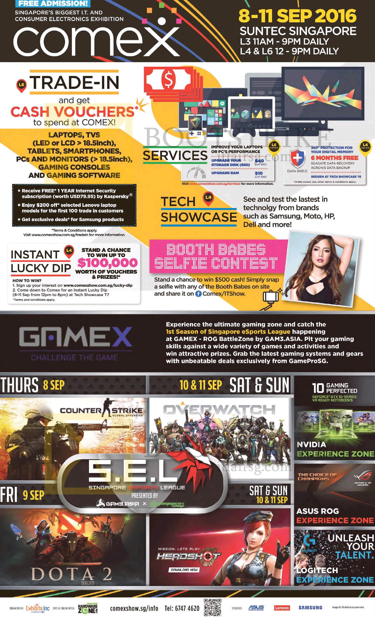 COMEX 2016 price list image brochure of COMEX 2016 Event Details, Venue, Opening Hours, Trade-in, Booth Babes Selfie, Gamex, Tech Showcase, Services