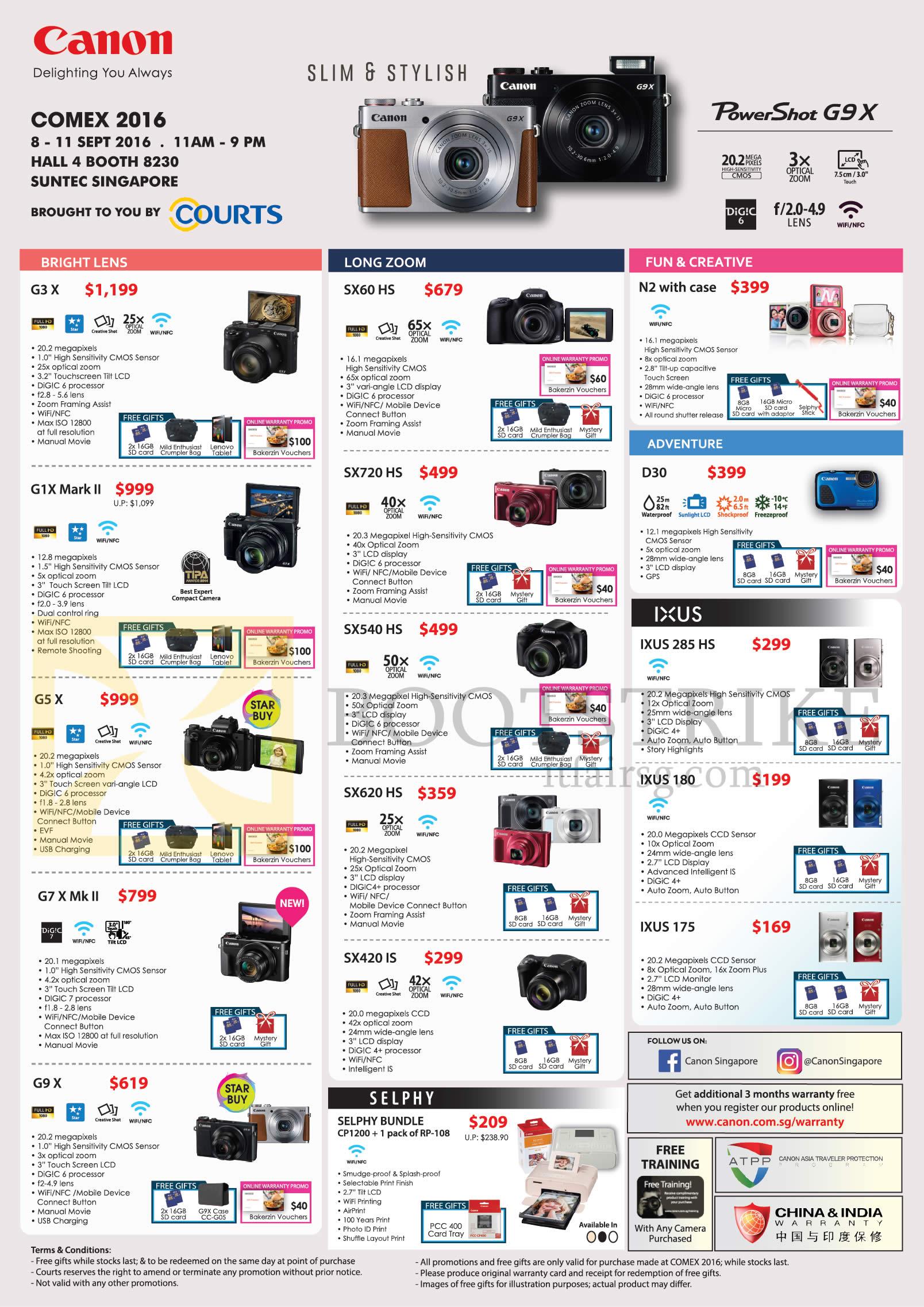 COMEX 2016 price list image brochure of Canon Digital Cameras, Printers, G3 X, G1X Mark II, G5X, G7X Mk II, G9X, SX60 HS, SX720 HS, SX540 HS, SX620 HS, SX420 IS, N2, D30, IXUS 285 HS, 180, 175, Selphy