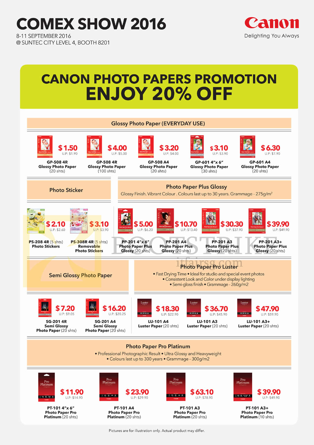 COMEX 2016 price list image brochure of Canon Photo Papers GP-508, 601, PS-208, PP-201, SG-201, LU-101, PT-101, Glossy, Photo Paper, Semi, Luster, Platinum