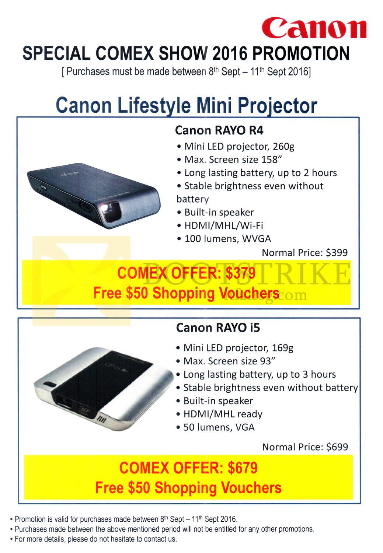 COMEX 2016 price list image brochure of Canon Projectors Lifestyle Mini Rayo R4, Rayo I5