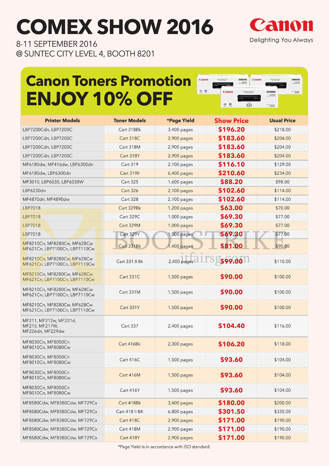 COMEX 2016 price list image brochure of Canon Toners 10 Percent Off, LBP, MF Series