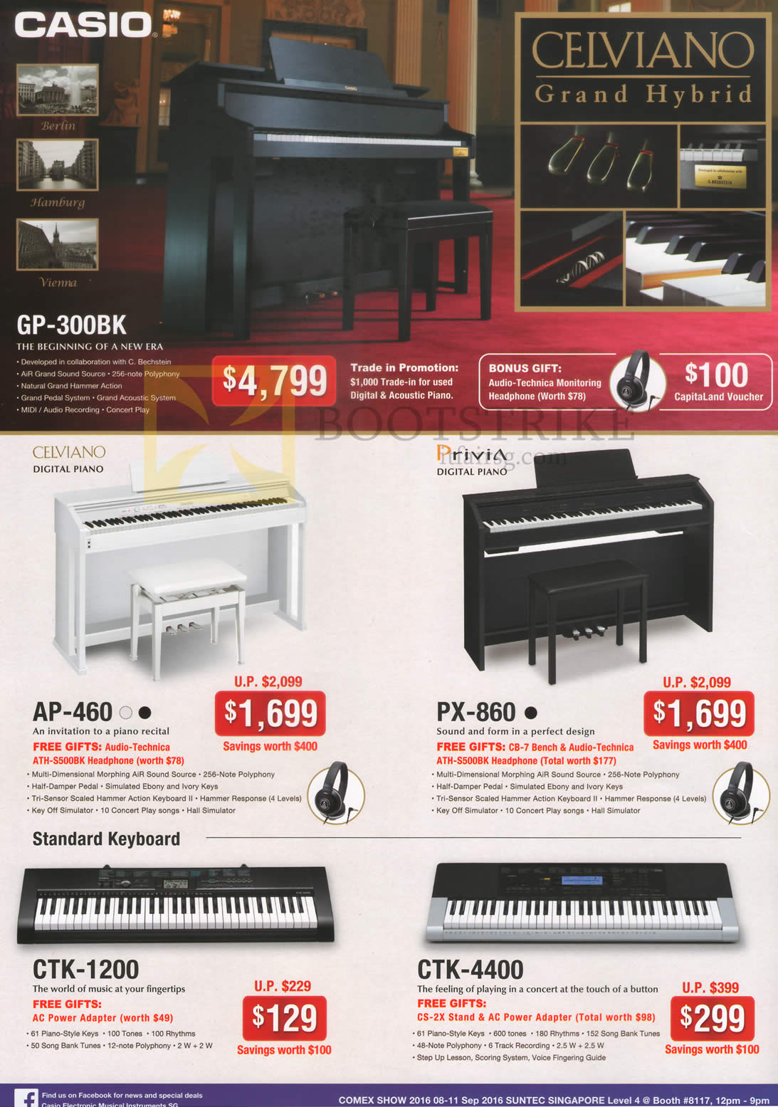 COMEX 2016 price list image brochure of Casio Keyboards GP-300BK, AP-460, PX-860, CTK-1200, CTK-4400