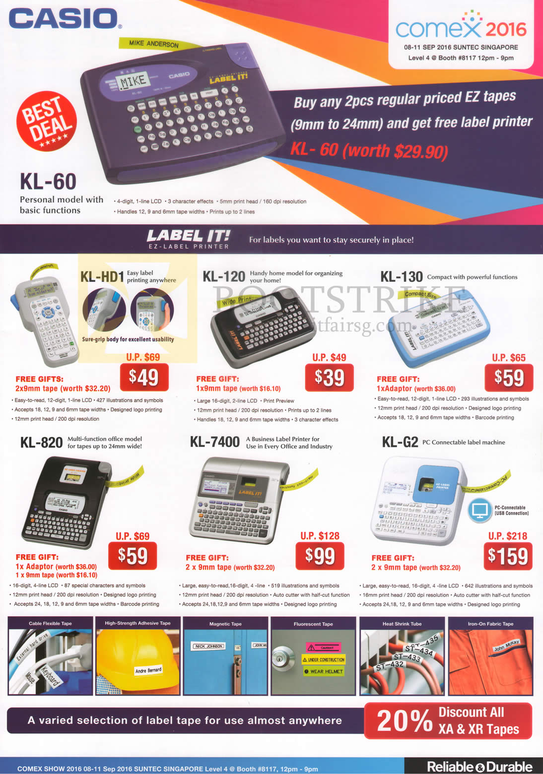 COMEX 2016 price list image brochure of Casio Labellers, Label It EZ-Label KL-60, HD1, 120, 130, 820, 7400, G2