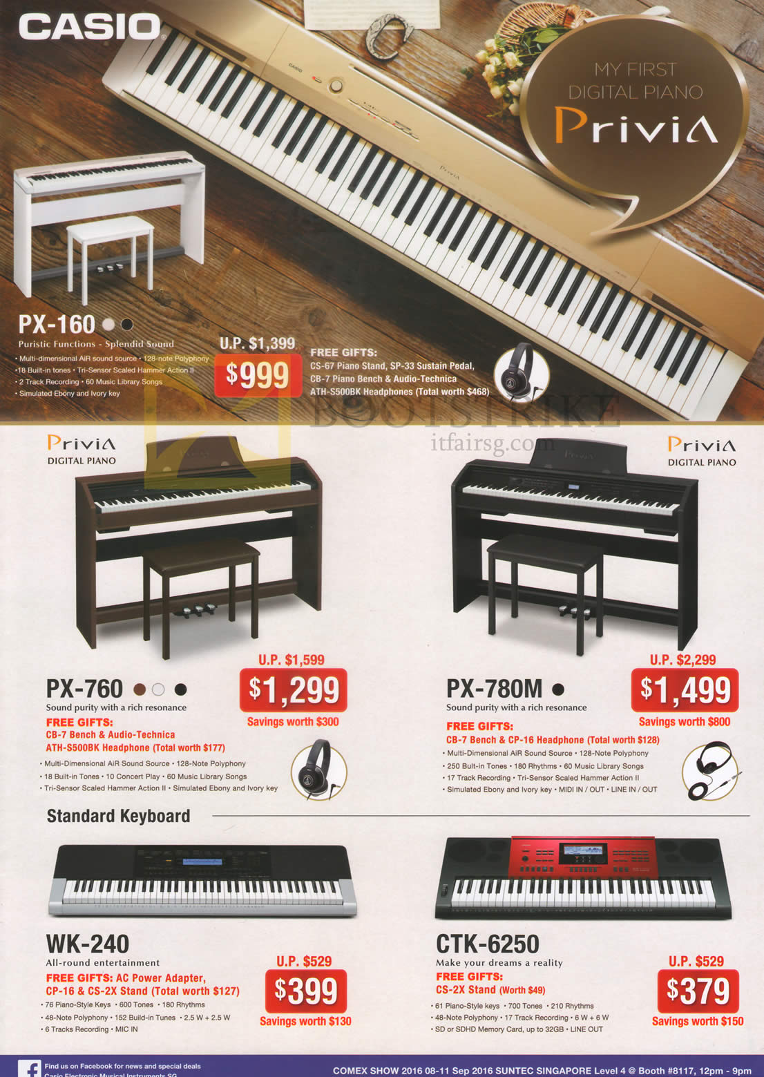 COMEX 2016 price list image brochure of Casio Music Keyboards PX-160, 760, 780M, WK-240, CTK-6250