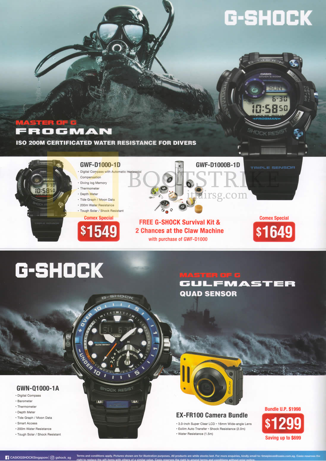 COMEX 2016 price list image brochure of Casio Watches G-Shock Frogman, Gulfmaster, GWF-D1000-1D, D1000B-1D, GWN-Q1000-1A, EX-FR100